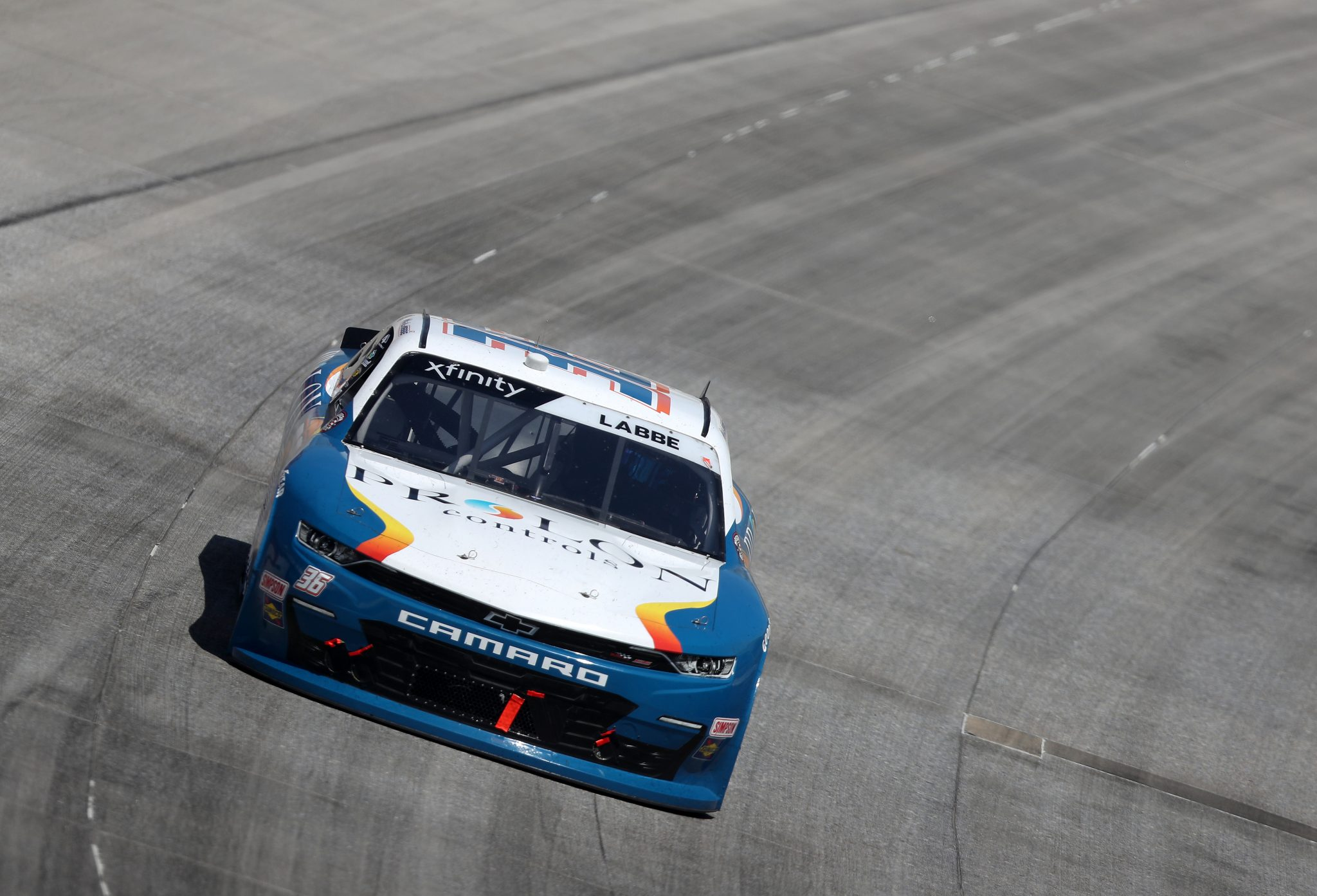 DOVER, DELAWARE - MAY 15: Alex Labbe, driver of the #36 Prolon/rousseau/Silver Wax Chevrolet, races during the NASCAR Xfinity Series Drydene 200 race at Dover International Speedway on May 15, 2021 in Dover, Delaware. (Photo by James Gilbert/Getty Images) | Getty Images