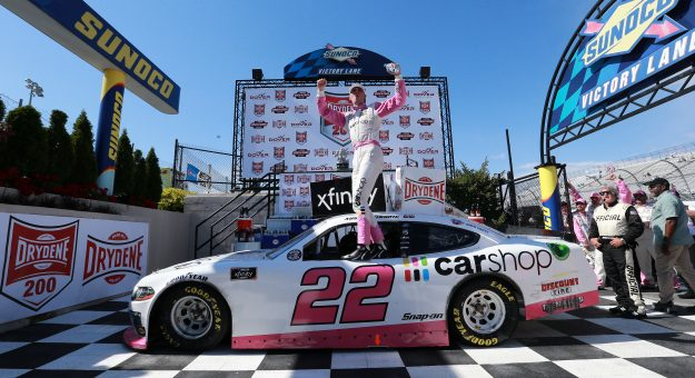 DOVER, DELAWARE - MAY 15: Austin Cindric, driver of the #22 Car Shop Ford, celebrates his win in Victory Lane during the NASCAR Xfinity Series Drydene 200 race at Dover International Speedway on May 15, 2021 in Dover, Delaware. (Photo by Sean Gardner/Getty Images)   Getty Images