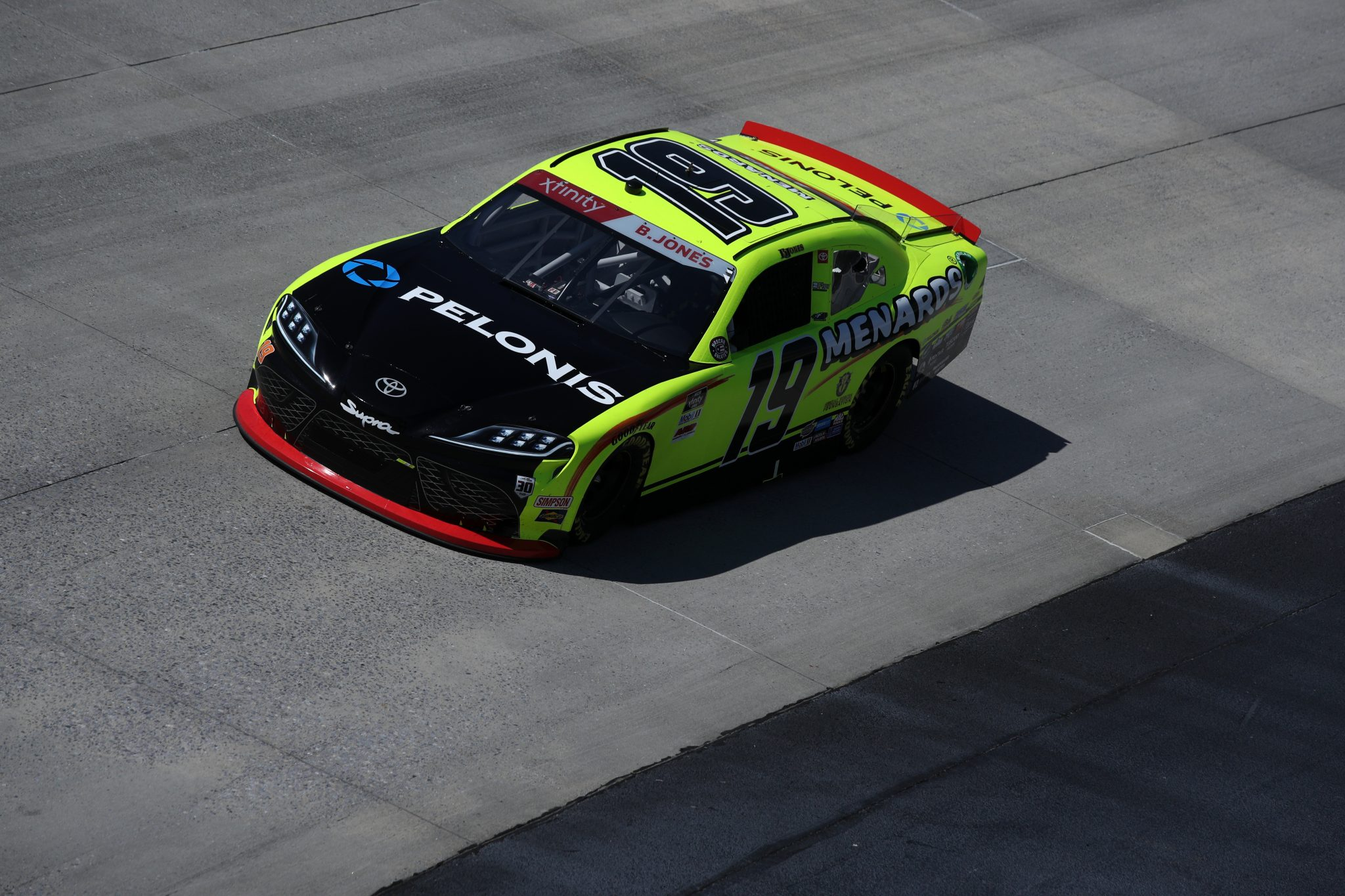 DOVER, DELAWARE - MAY 15: Brandon Jones, driver of the #19 Menards/Pelonis Toyota, races during the NASCAR Xfinity Series Drydene 200 race at Dover International Speedway on May 15, 2021 in Dover, Delaware. (Photo by Sean Gardner/Getty Images) | Getty Images