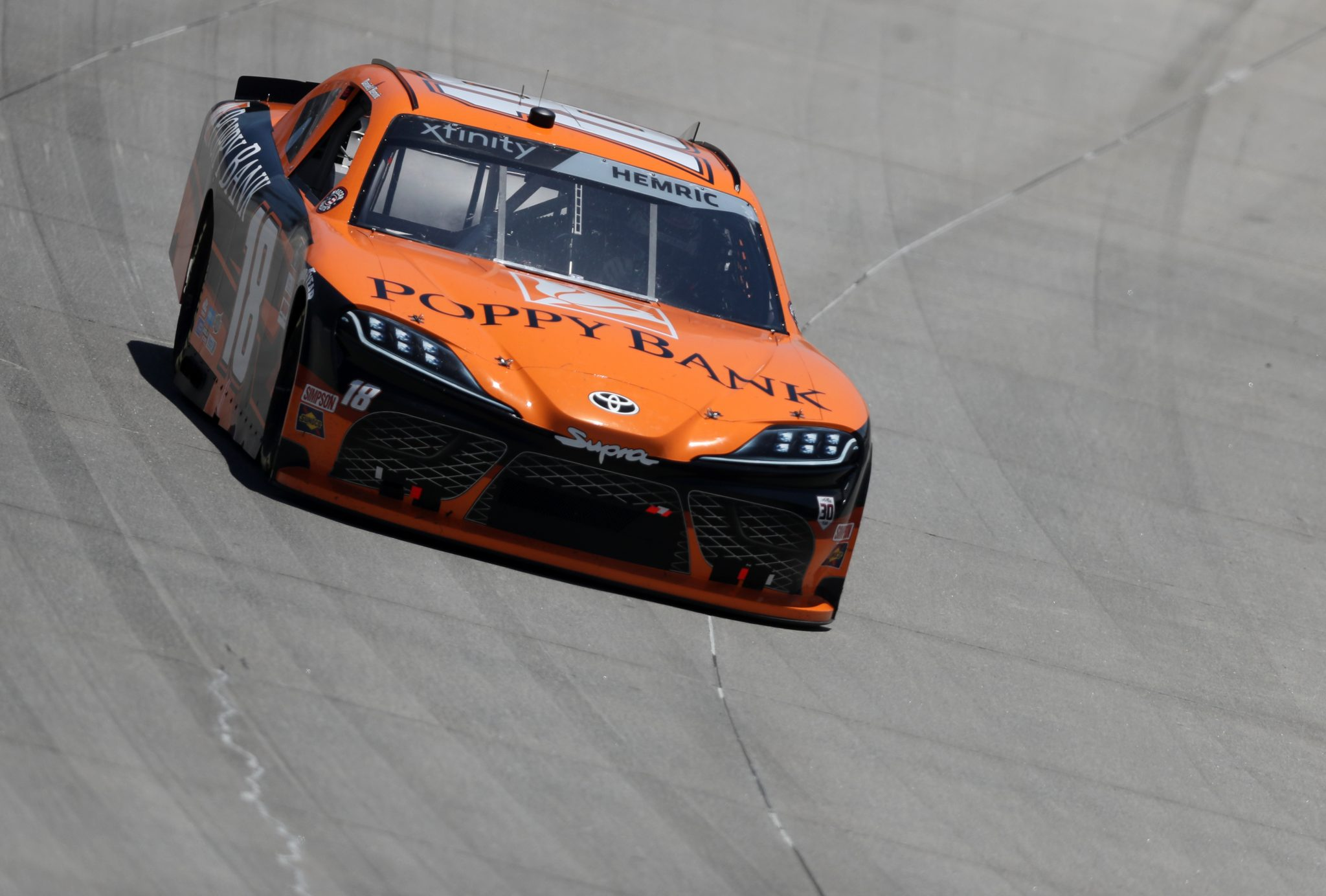 DOVER, DELAWARE - MAY 15: Daniel Hemric, driver of the #18 Poppy Bank Toyota, races during the NASCAR Xfinity Series Drydene 200 race at Dover International Speedway on May 15, 2021 in Dover, Delaware. (Photo by James Gilbert/Getty Images) | Getty Images