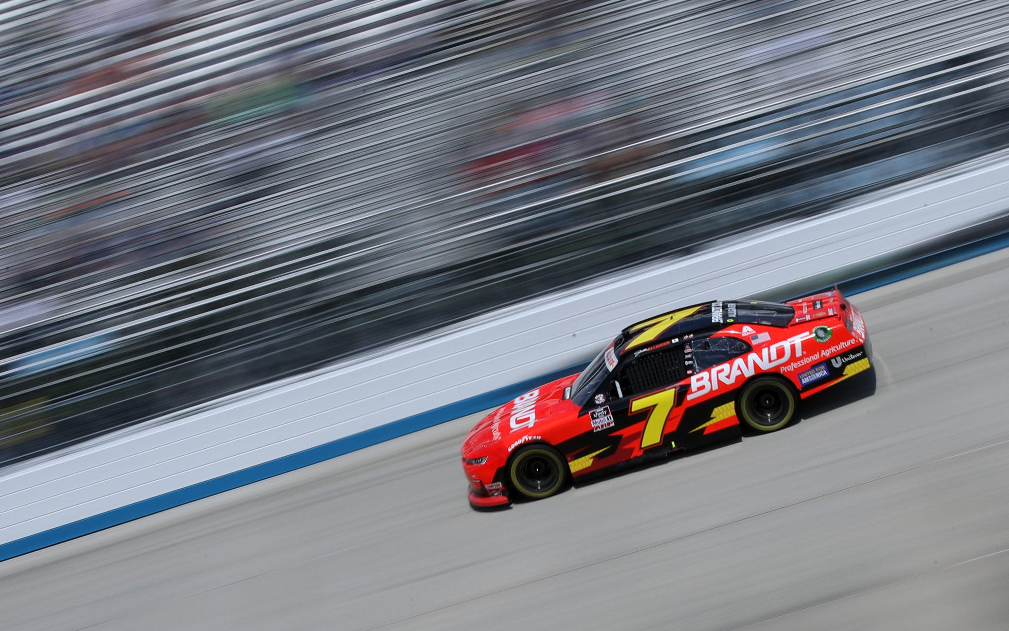 DOVER, DELAWARE - MAY 15: Justin Allgaier, driver of the #7 BRANDT Chevrolet, races during the NASCAR Xfinity Series Drydene 200 race at Dover International Speedway on May 15, 2021 in Dover, Delaware. (Photo by Sean Gardner/Getty Images) | Getty Images
