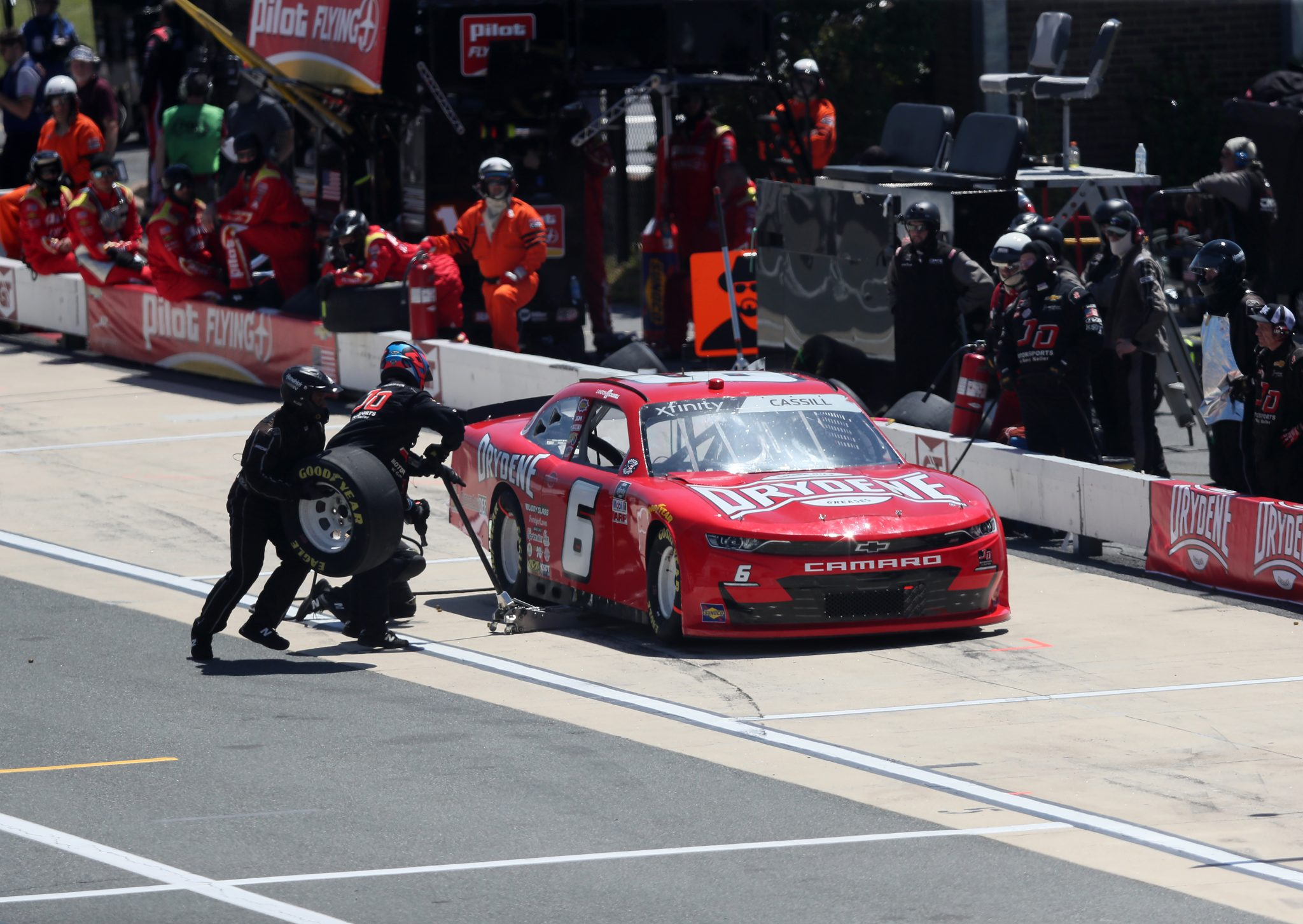 DOVER, DELAWARE - MAY 15: Landon Cassill, driver of the #6 TeamJDMotorsports.com Chevrolet, pits during the NASCAR Xfinity Series Drydene 200 race at Dover International Speedway on May 15, 2021 in Dover, Delaware. (Photo by James Gilbert/Getty Images) | Getty Images