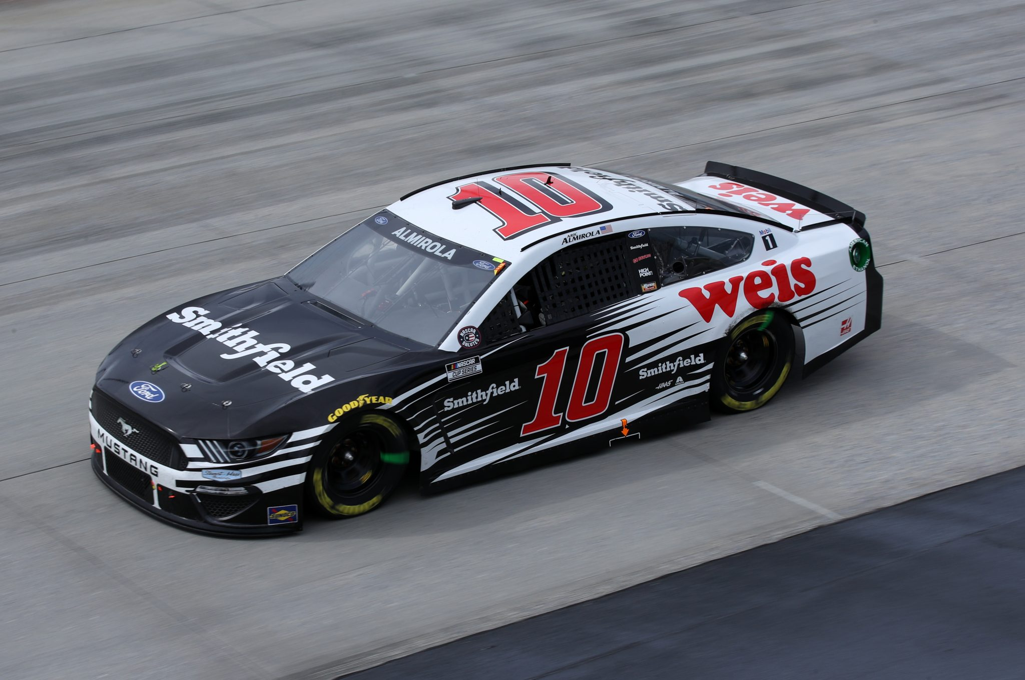 DOVER, DELAWARE - MAY 16: Aric Almirola, driver of the #10 Smithfield/Weis Markets Ford, races during the NASCAR Cup Series Drydene 400 at Dover International Speedway on May 16, 2021 in Dover, Delaware. (Photo by Sean Gardner/Getty Images) | Getty Images