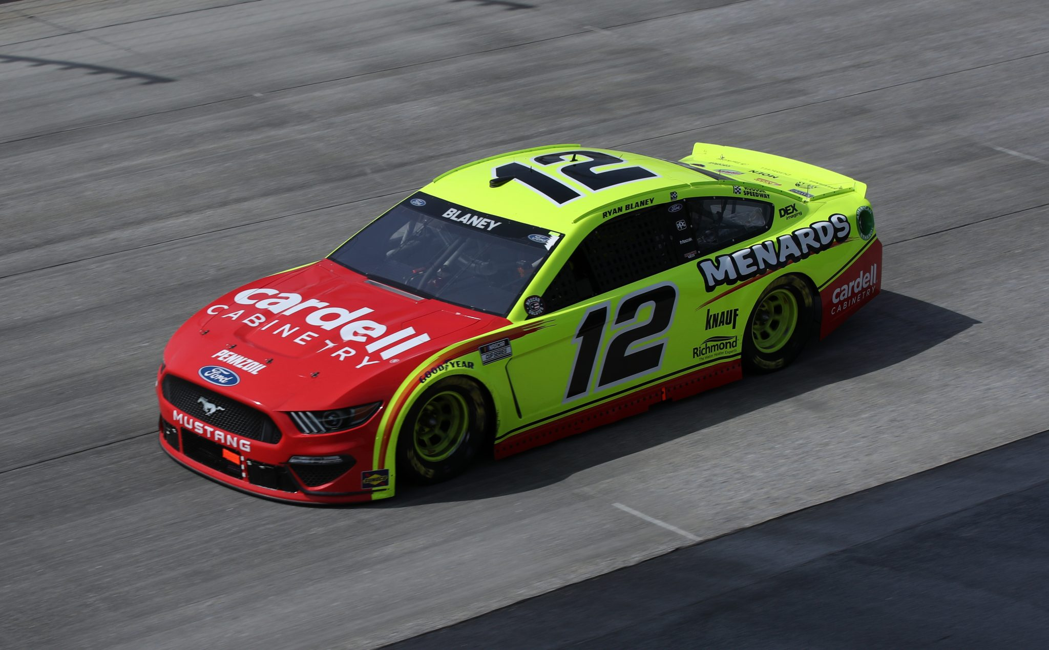 DOVER, DELAWARE - MAY 16: Ryan Blaney, driver of the #12 Menards/Cardell Cabinetry Ford, races during the NASCAR Cup Series Drydene 400 at Dover International Speedway on May 16, 2021 in Dover, Delaware. (Photo by Sean Gardner/Getty Images) | Getty Images