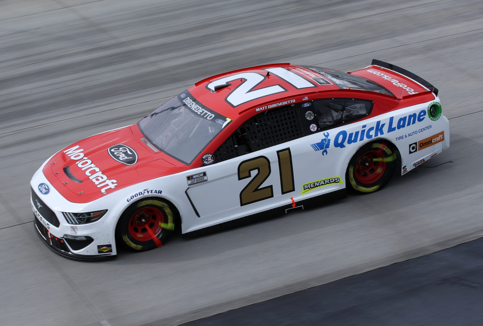DOVER, DELAWARE - MAY 16: Matt DiBenedetto, driver of the #21 Motorcraft/Quick Lane Ford, races during the NASCAR Cup Series Drydene 400 at Dover International Speedway on May 16, 2021 in Dover, Delaware. (Photo by Sean Gardner/Getty Images) | Getty Images