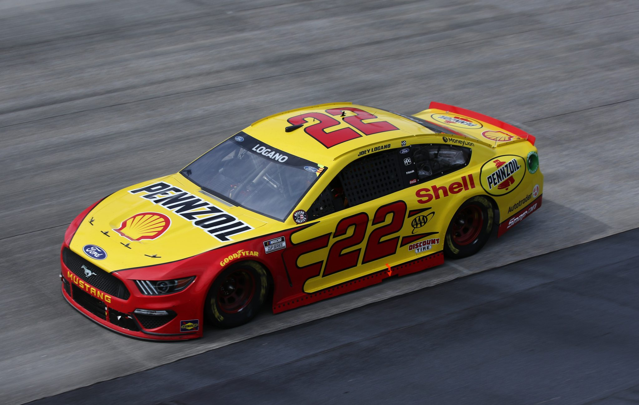 DOVER, DELAWARE - MAY 16: Joey Logano, driver of the #22 Shell Pennzoil Ford, races during the NASCAR Cup Series Drydene 400 at Dover International Speedway on May 16, 2021 in Dover, Delaware. (Photo by Sean Gardner/Getty Images) | Getty Images