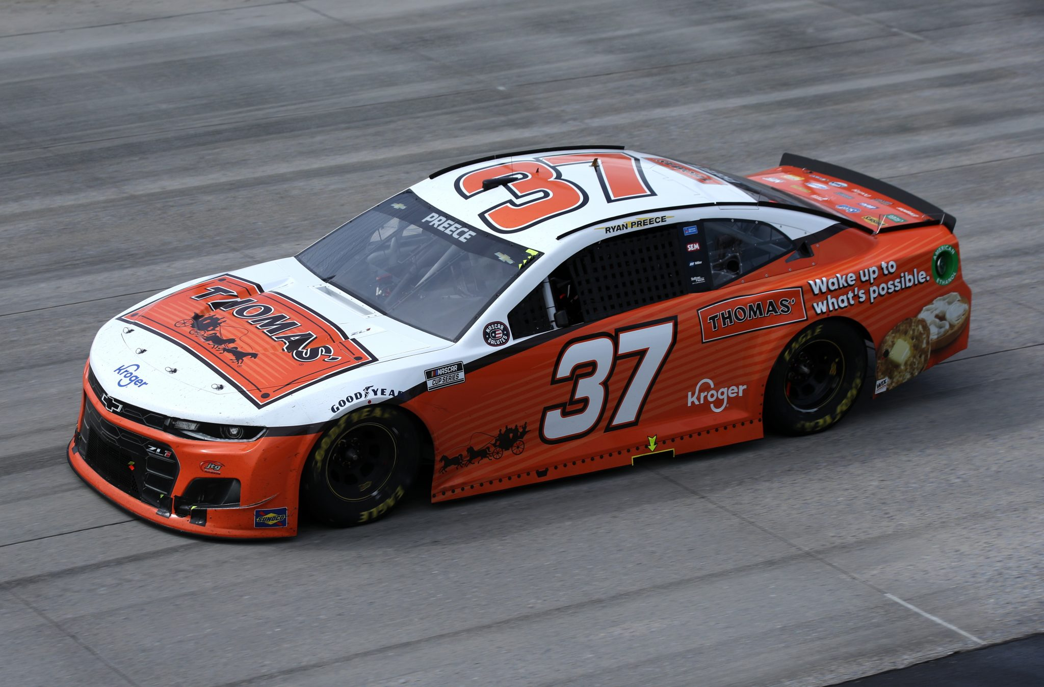 DOVER, DELAWARE - MAY 16: Ryan Preece, driver of the #37 Thomas' Chevrolet, races during the NASCAR Cup Series Drydene 400 at Dover International Speedway on May 16, 2021 in Dover, Delaware. (Photo by Sean Gardner/Getty Images) | Getty Images