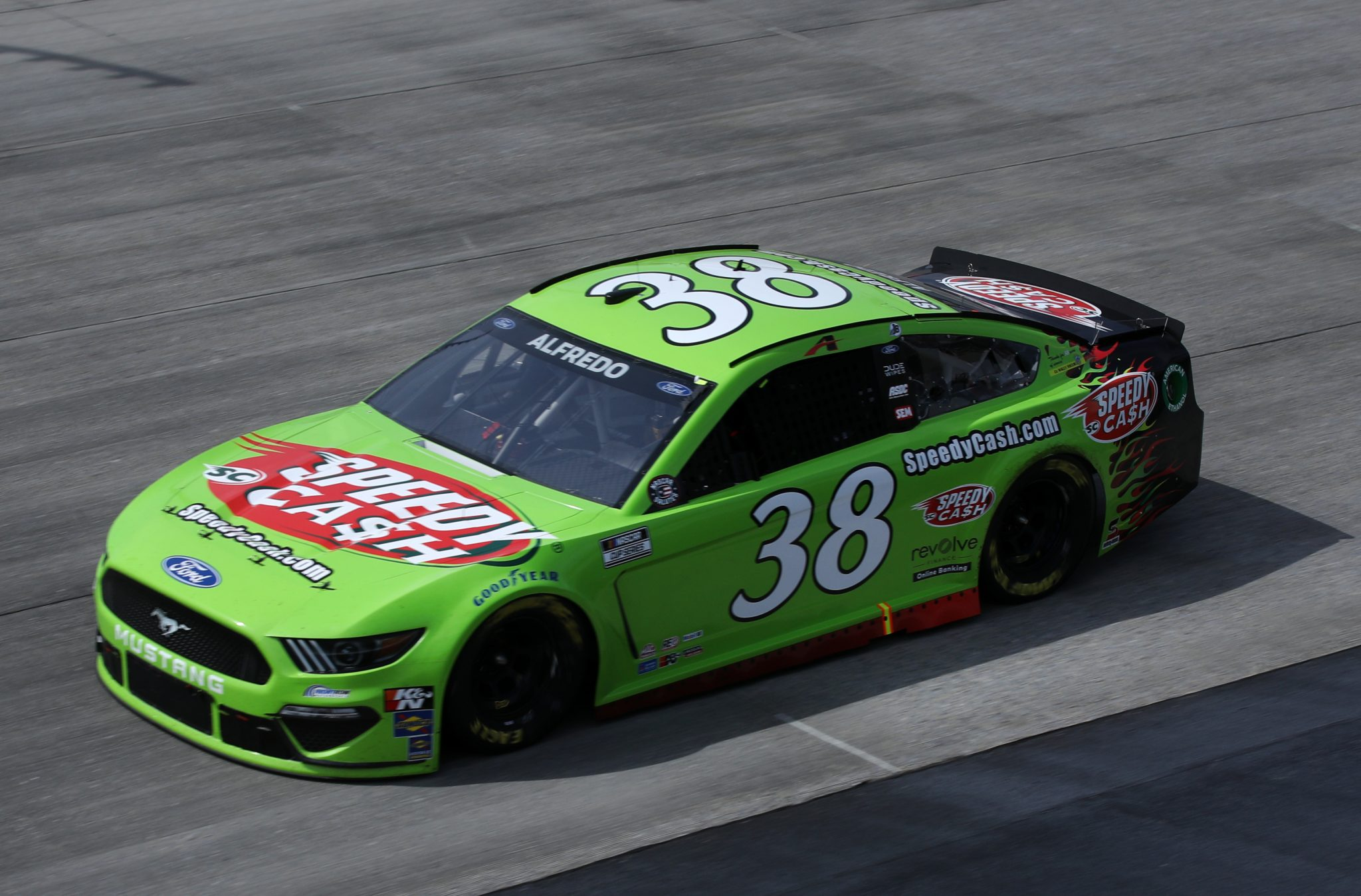 DOVER, DELAWARE - MAY 16: Anthony Alfredo, driver of the #38 Speedy Cash Ford, races during the NASCAR Cup Series Drydene 400 at Dover International Speedway on May 16, 2021 in Dover, Delaware. (Photo by Sean Gardner/Getty Images) | Getty Images