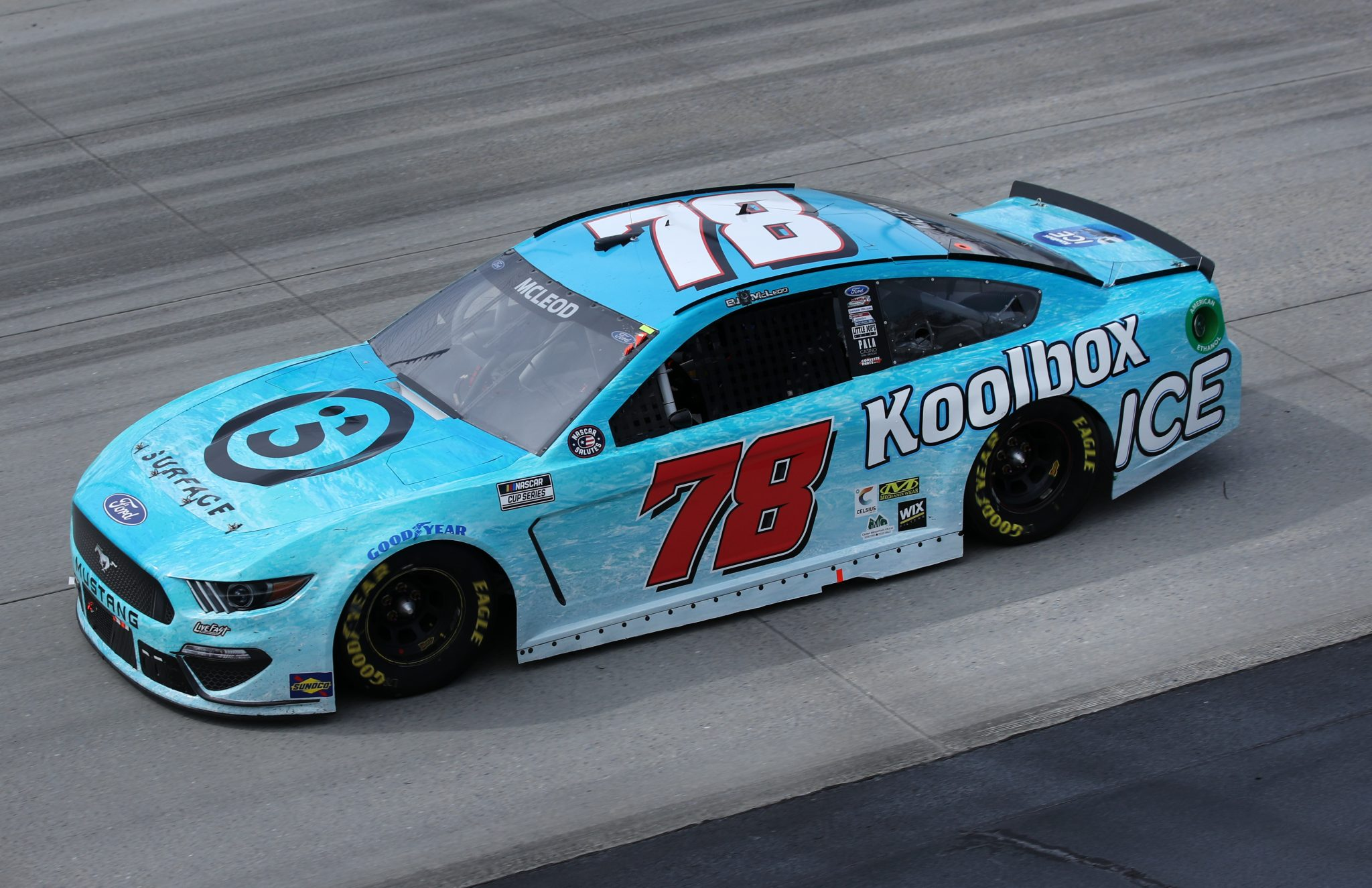 DOVER, DELAWARE - MAY 16: BJ McLeod, driver of the #78 Surface Sunscreen/Koolbox ICE Ford, races during the NASCAR Cup Series Drydene 400 at Dover International Speedway on May 16, 2021 in Dover, Delaware. (Photo by Sean Gardner/Getty Images) | Getty Images
