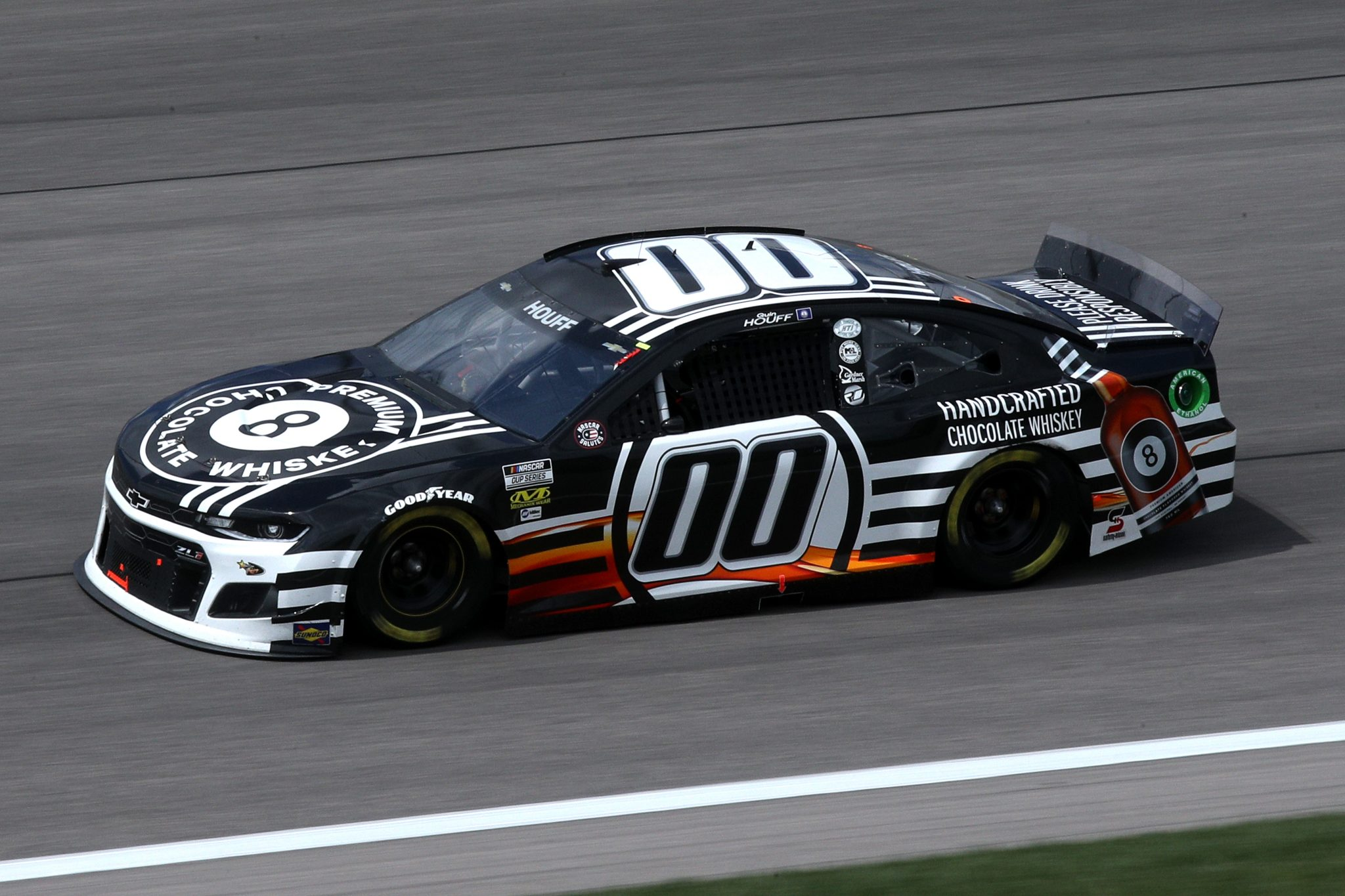 KANSAS CITY, KANSAS - MAY 02: Quin Houff, driver of the #00 8 Ball Chocolate Whiskey Chevrolet, drives during the NASCAR Cup Series Buschy McBusch Race 400 at Kansas Speedway on May 02, 2021 in Kansas City, Kansas. (Photo by Sean Gardner/Getty Images) | Getty Images