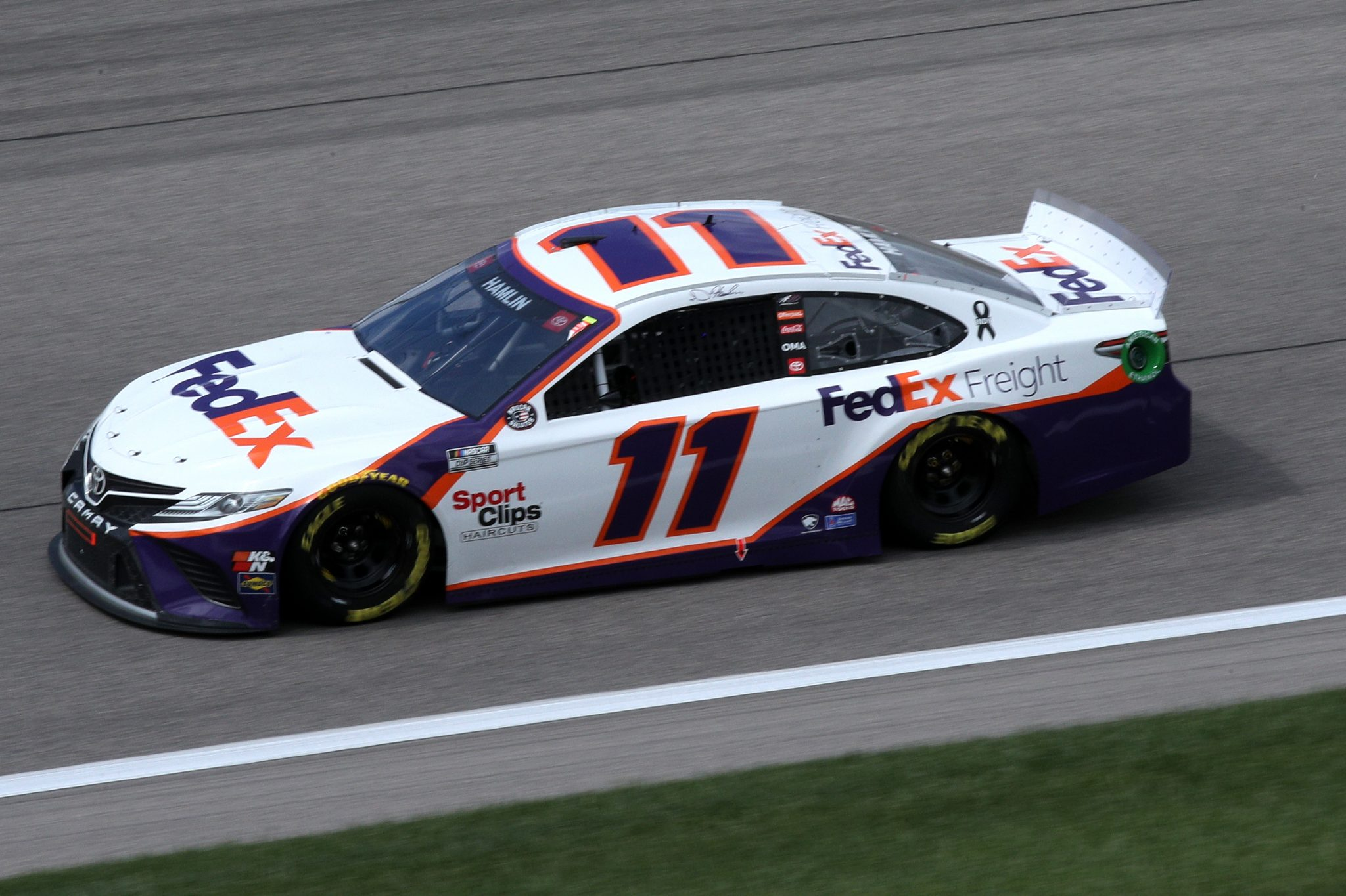 KANSAS CITY, KANSAS - MAY 02: Denny Hamlin, driver of the #11 FedEx Freight Toyota, drives during the NASCAR Cup Series Buschy McBusch Race 400 at Kansas Speedway on May 02, 2021 in Kansas City, Kansas. (Photo by Sean Gardner/Getty Images) | Getty Images