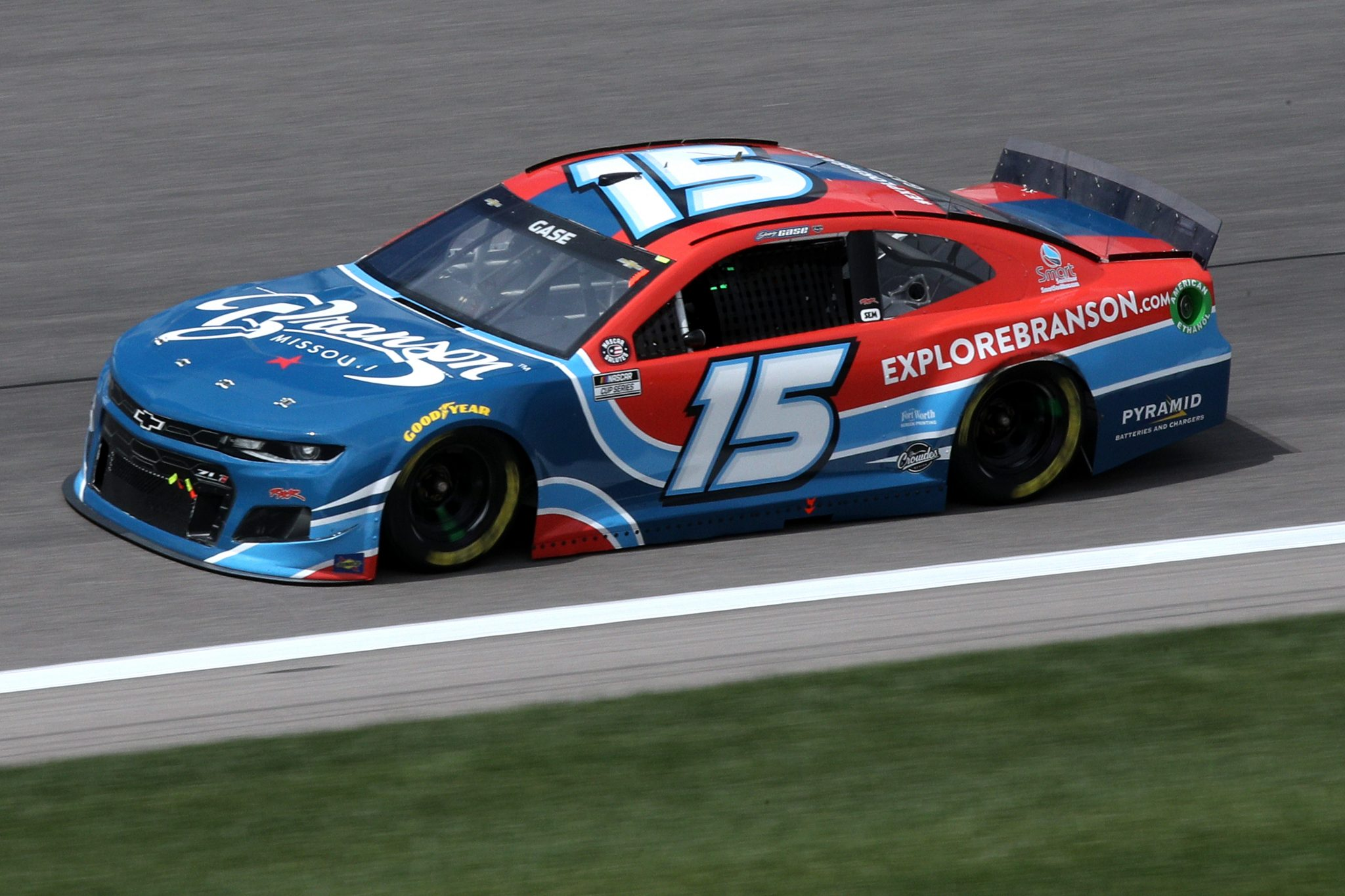 KANSAS CITY, KANSAS - MAY 02: Joey Gase, driver of the #15 Explore Branson Chevrolet, drives during the NASCAR Cup Series Buschy McBusch Race 400 at Kansas Speedway on May 02, 2021 in Kansas City, Kansas. (Photo by Sean Gardner/Getty Images) | Getty Images