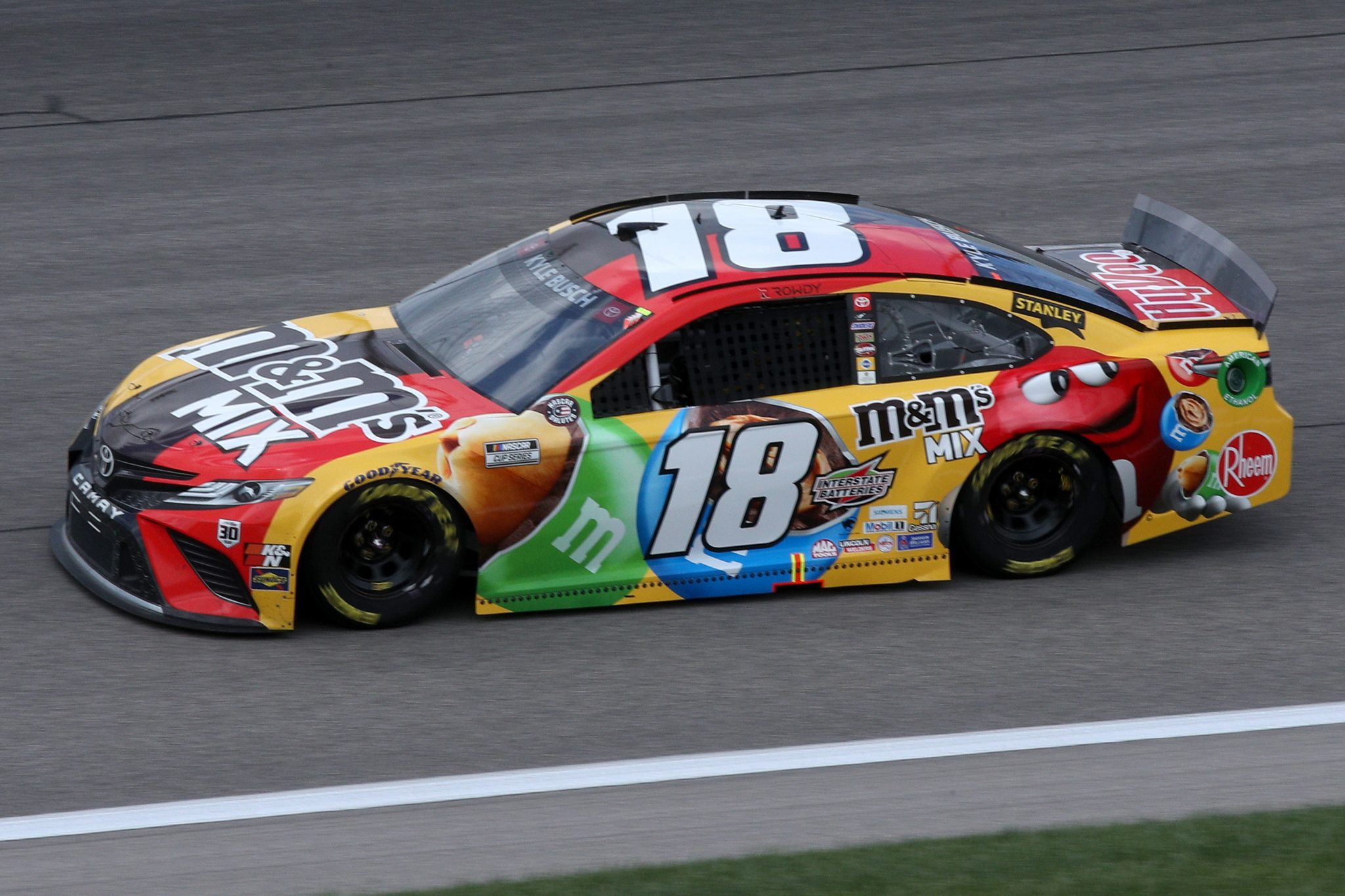 KANSAS CITY, KANSAS - MAY 02: Kyle Busch, driver of the #18 M&M's Mix Toyota, drives during the NASCAR Cup Series Buschy McBusch Race 400 at Kansas Speedway on May 02, 2021 in Kansas City, Kansas. (Photo by Sean Gardner/Getty Images) | Getty Images