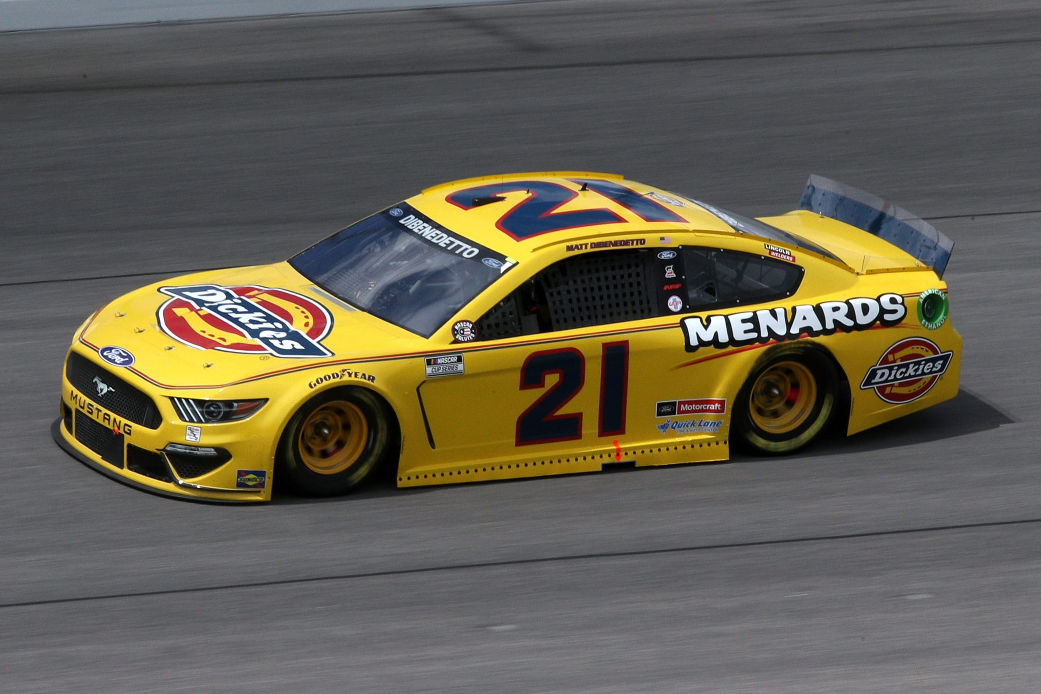 KANSAS CITY, KANSAS - MAY 02: Matt DiBenedetto, driver of the #21 Dickies/Menards Ford, drives during the NASCAR Cup Series Buschy McBusch Race 400 at Kansas Speedway on May 02, 2021 in Kansas City, Kansas. (Photo by Sean Gardner/Getty Images) | Getty Images