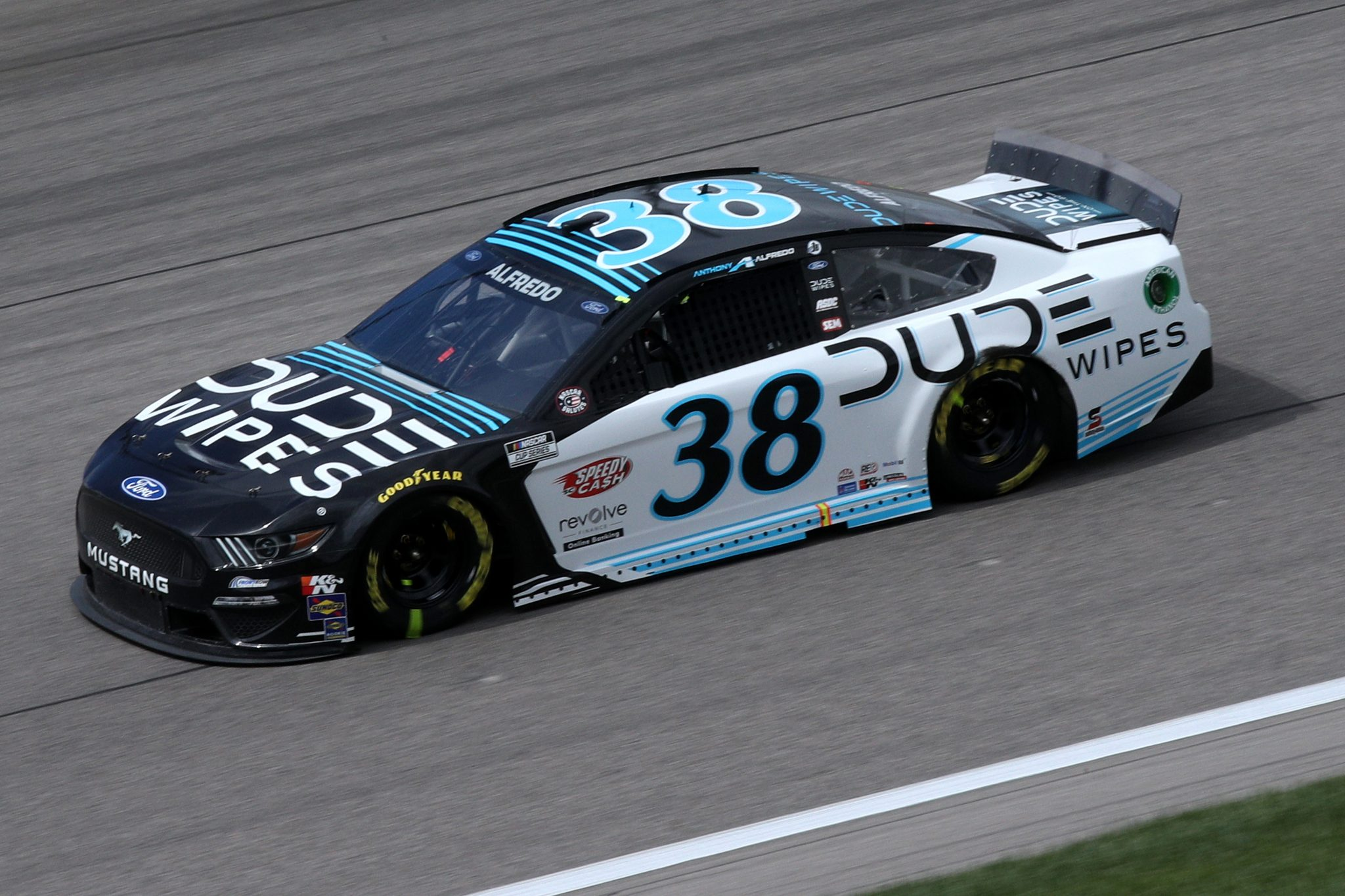 KANSAS CITY, KANSAS - MAY 02: Anthony Alfredo, driver of the #38 Dude Wipes Ford, drives during the NASCAR Cup Series Buschy McBusch Race 400 at Kansas Speedway on May 02, 2021 in Kansas City, Kansas. (Photo by Sean Gardner/Getty Images) | Getty Images