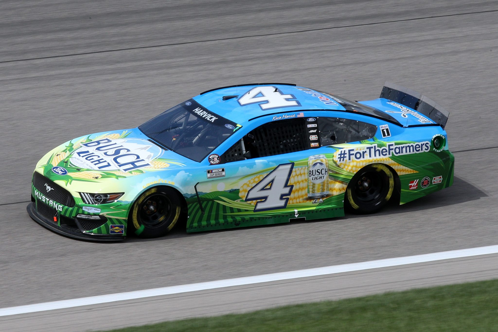 KANSAS CITY, KANSAS - MAY 02: Kevin Harvick, driver of the #4 Busch Light For The Farmers Ford, drives during the NASCAR Cup Series Buschy McBusch Race 400 at Kansas Speedway on May 02, 2021 in Kansas City, Kansas. (Photo by Sean Gardner/Getty Images) | Getty Images