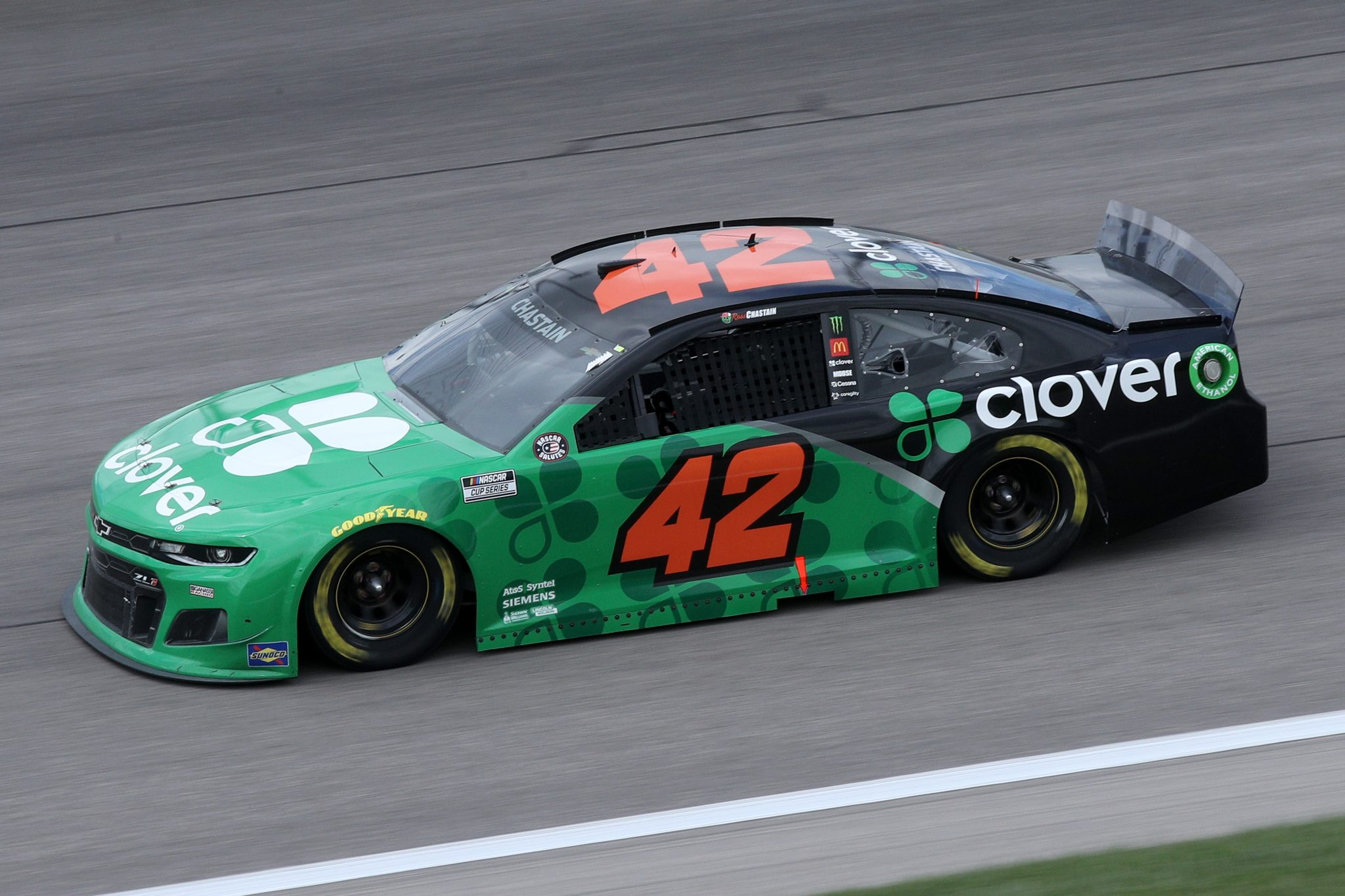 KANSAS CITY, KANSAS - MAY 02: Ross Chastain, driver of the #42 Clover Chevrolet, drives during the NASCAR Cup Series Buschy McBusch Race 400 at Kansas Speedway on May 02, 2021 in Kansas City, Kansas. (Photo by Sean Gardner/Getty Images) | Getty Images