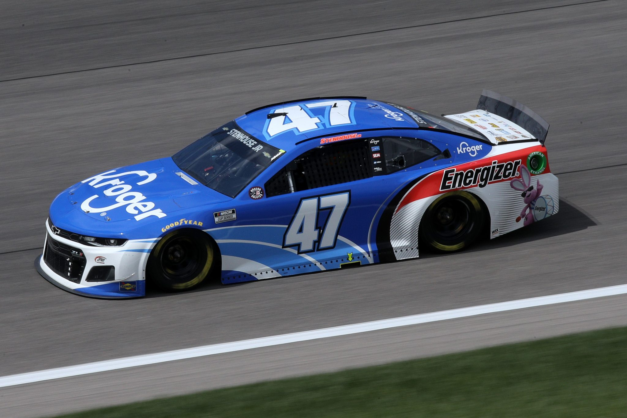 KANSAS CITY, KANSAS - MAY 02: Ricky Stenhouse Jr., driver of the #47 Kroger/Energizer Chevrolet, drives during the NASCAR Cup Series Buschy McBusch Race 400 at Kansas Speedway on May 02, 2021 in Kansas City, Kansas. (Photo by Sean Gardner/Getty Images) | Getty Images