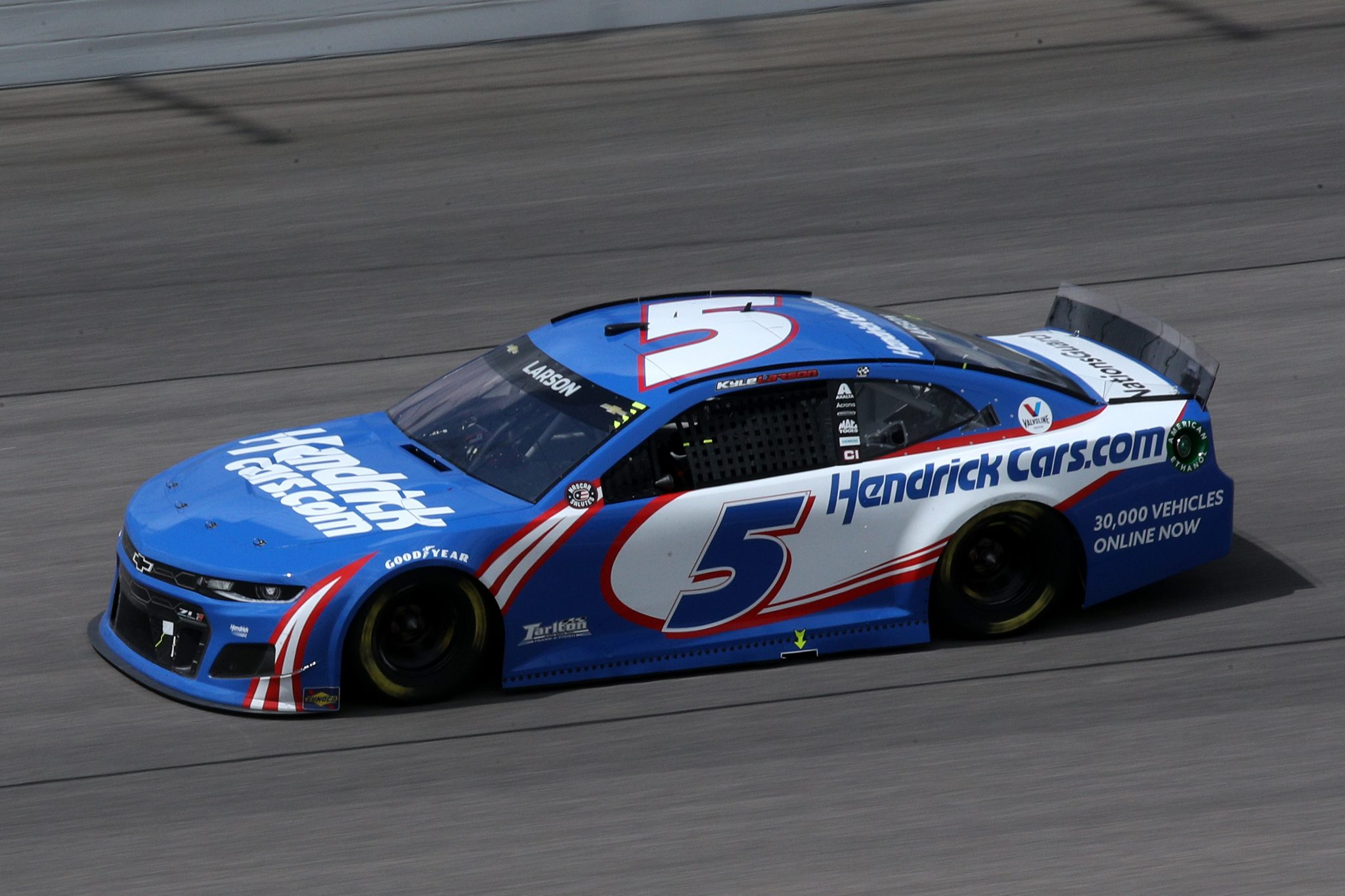 KANSAS CITY, KANSAS - MAY 02: Kyle Larson, driver of the #5 HendrickCars.com Chevrolet, drives during the NASCAR Cup Series Buschy McBusch Race 400 at Kansas Speedway on May 02, 2021 in Kansas City, Kansas. (Photo by Sean Gardner/Getty Images) | Getty Images