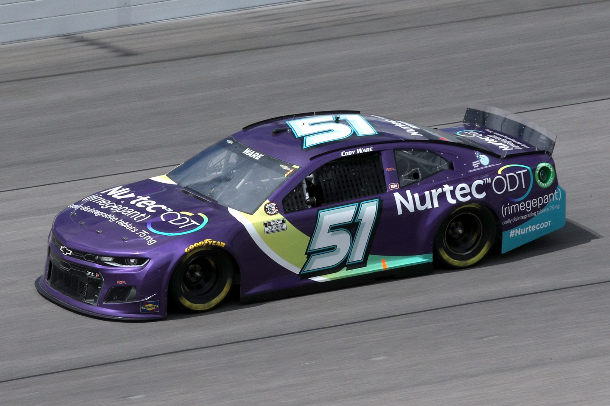 KANSAS CITY, KANSAS - MAY 02: Cody Ware, driver of the #51 Nurtec ODT Chevrolet, drives during the NASCAR Cup Series Buschy McBusch Race 400 at Kansas Speedway on May 02, 2021 in Kansas City, Kansas. (Photo by Sean Gardner/Getty Images) | Getty Images