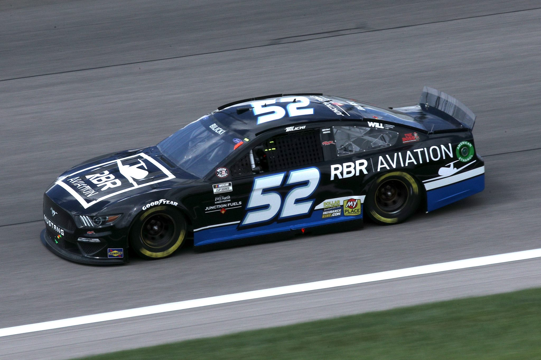 KANSAS CITY, KANSAS - MAY 02: Josh Bilicki, driver of the #52 RBR Aviation Ford, drives during the NASCAR Cup Series Buschy McBusch Race 400 at Kansas Speedway on May 02, 2021 in Kansas City, Kansas. (Photo by Sean Gardner/Getty Images) | Getty Images