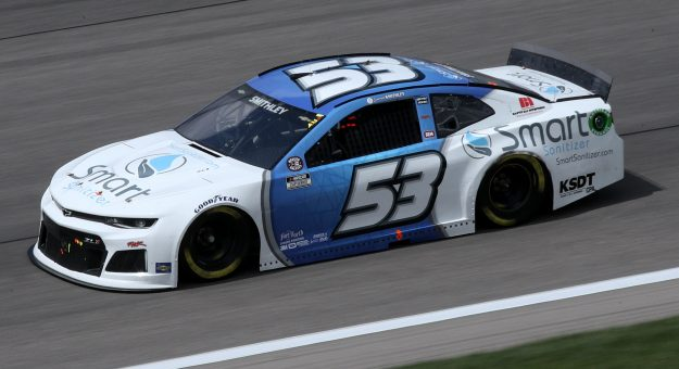 KANSAS CITY, KANSAS - MAY 02: Garrett Smithley, driver of the #53 Smart Sanitizer Chevrolet, drives during the NASCAR Cup Series Buschy McBusch Race 400 at Kansas Speedway on May 02, 2021 in Kansas City, Kansas. (Photo by Sean Gardner/Getty Images) | Getty Images