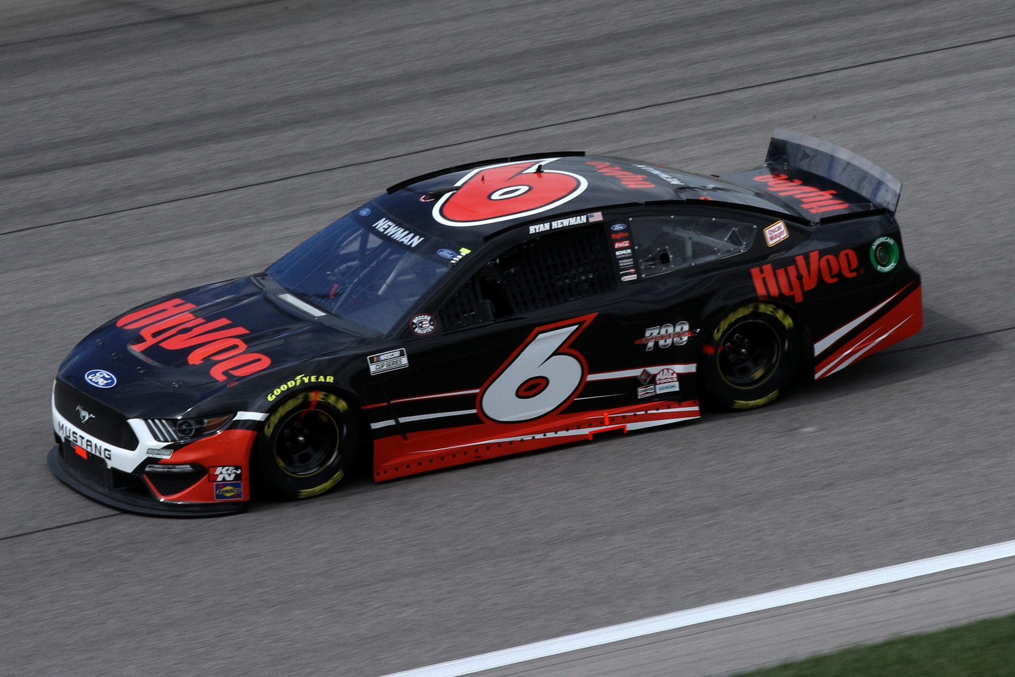 KANSAS CITY, KANSAS - MAY 02: Ryan Newman, driver of the #6 Hy-Vee Ford, drives during the NASCAR Cup Series Buschy McBusch Race 400 at Kansas Speedway on May 02, 2021 in Kansas City, Kansas. (Photo by Sean Gardner/Getty Images) | Getty Images