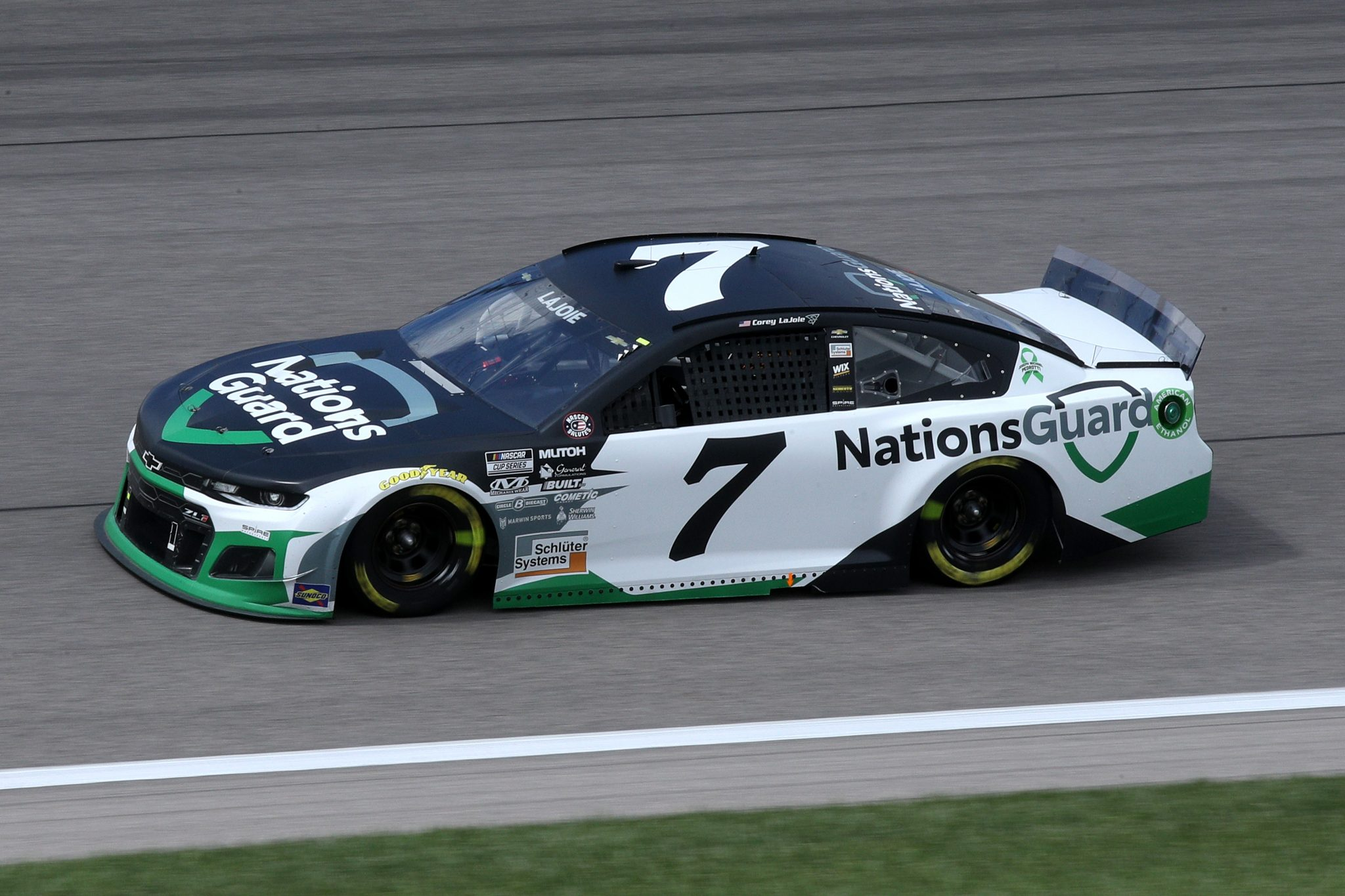 KANSAS CITY, KANSAS - MAY 02: Corey LaJoie, driver of the #7 Nations Guard Chevrolet, drives during the NASCAR Cup Series Buschy McBusch Race 400 at Kansas Speedway on May 02, 2021 in Kansas City, Kansas. (Photo by Sean Gardner/Getty Images) | Getty Images