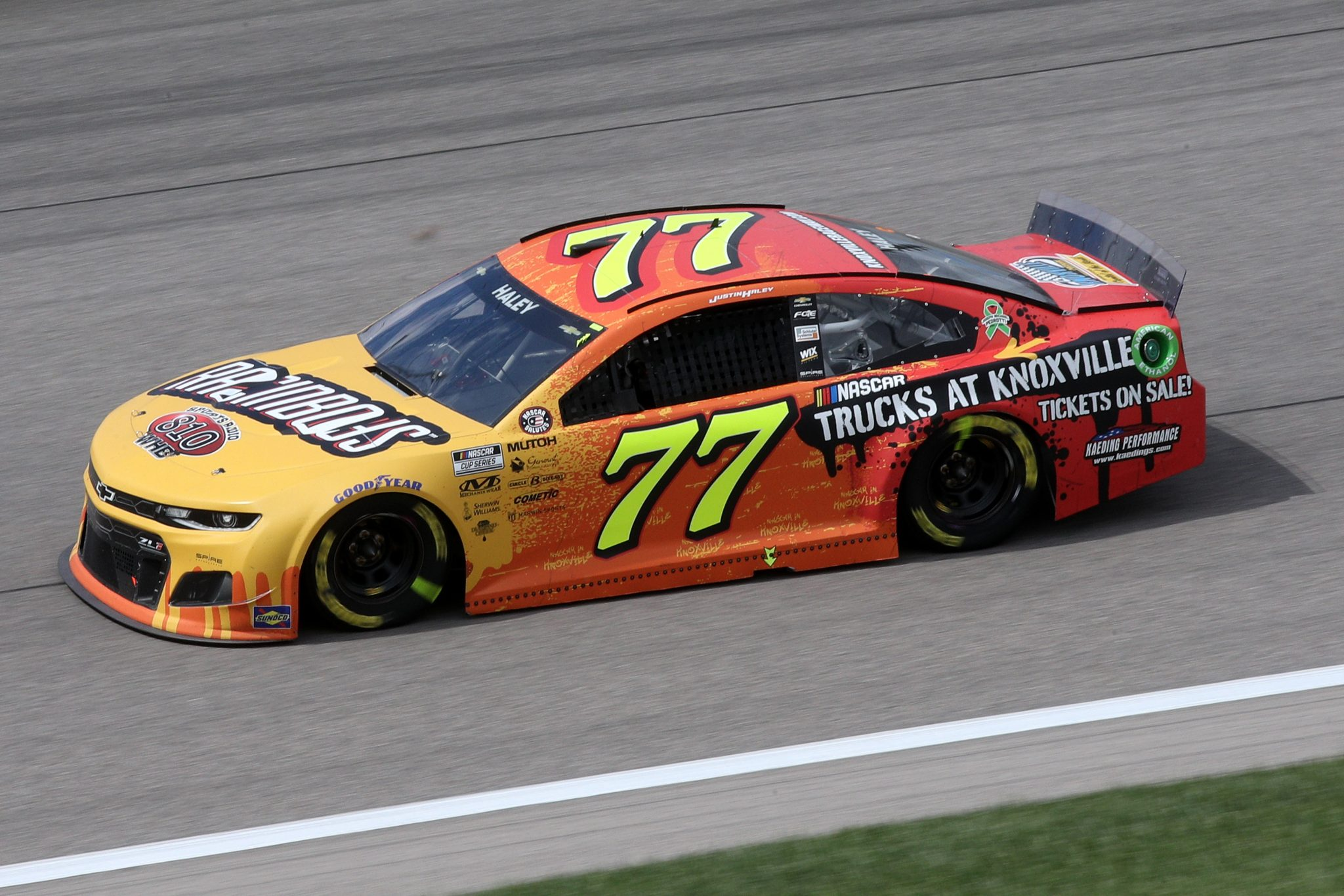 KANSAS CITY, KANSAS - MAY 02: Justin Haley, driver of the #77 NASCAR TRUCKS AT KNOXVILLE Chevrolet, drives during the NASCAR Cup Series Buschy McBusch Race 400 at Kansas Speedway on May 02, 2021 in Kansas City, Kansas. (Photo by Sean Gardner/Getty Images) | Getty Images