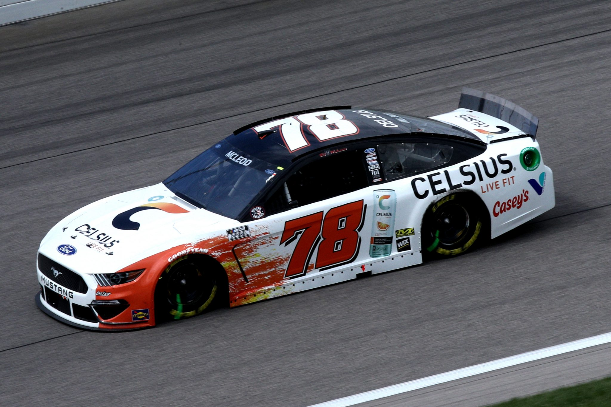 KANSAS CITY, KANSAS - MAY 02: BJ McLeod, driver of the #78 Celsius Ford, drives during the NASCAR Cup Series Buschy McBusch Race 400 at Kansas Speedway on May 02, 2021 in Kansas City, Kansas. (Photo by Sean Gardner/Getty Images) | Getty Images