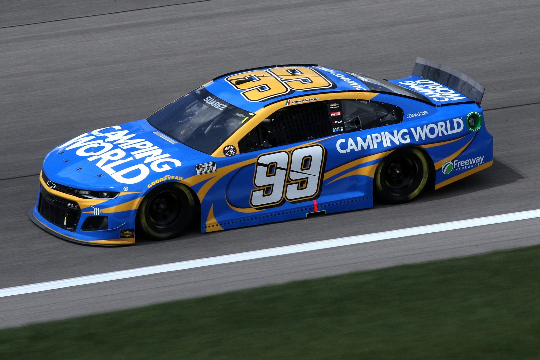 KANSAS CITY, KANSAS - MAY 02: Daniel Suarez, driver of the #99 Camping World Chevrolet, drives during the NASCAR Cup Series Buschy McBusch Race 400 at Kansas Speedway on May 02, 2021 in Kansas City, Kansas. (Photo by Sean Gardner/Getty Images) | Getty Images