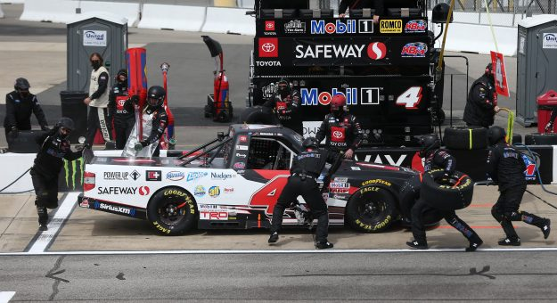 RICHMOND, VIRGINIA - APRIL 17: John Hunter Nemechek, driver of the #4 Safeway Toyota, pits during the NASCAR Camping World Truck Series ToyotaCare 250 at Richmond Raceway on April 17, 2021 in Richmond, Virginia. (Photo by Brian Lawdermilk/Getty Images)   Getty Images