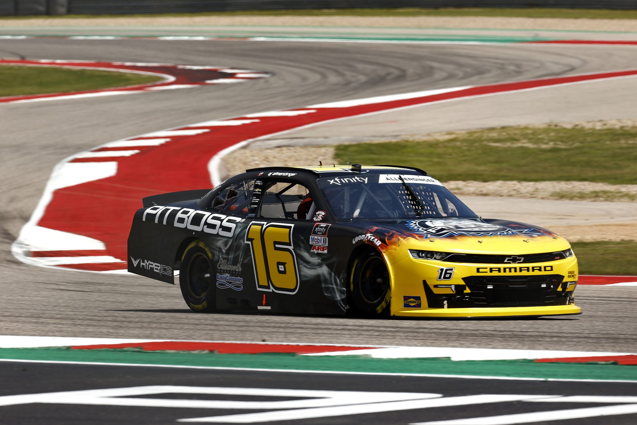 AUSTIN, TEXAS - MAY 21: AJ Allmendinger, driver of the #16 Pit Boss Grills Chevrolet, drives during practice for the NASCAR Xfinity Series Pit Boss 250 at Circuit of The Americas on May 21, 2021 in Austin, Texas. (Photo by Jared C. Tilton/Getty Images) | Getty Images