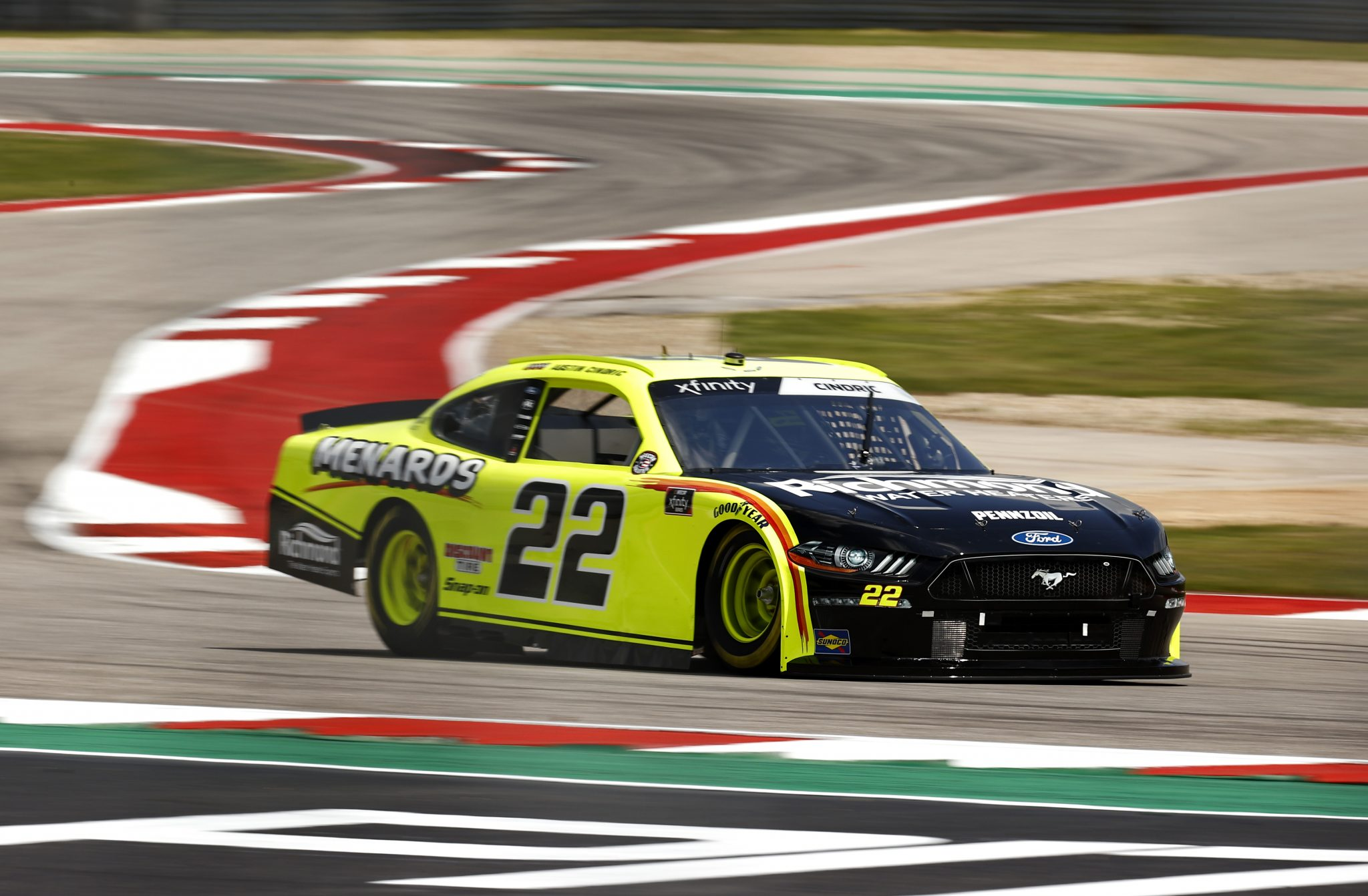 AUSTIN, TEXAS - MAY 21: Austin Cindric, driver of the #22 Menards/Richmond Ford, drives during practice for the NASCAR Xfinity Series Pit Boss 250 at Circuit of The Americas on May 21, 2021 in Austin, Texas. (Photo by Jared C. Tilton/Getty Images) | Getty Images
