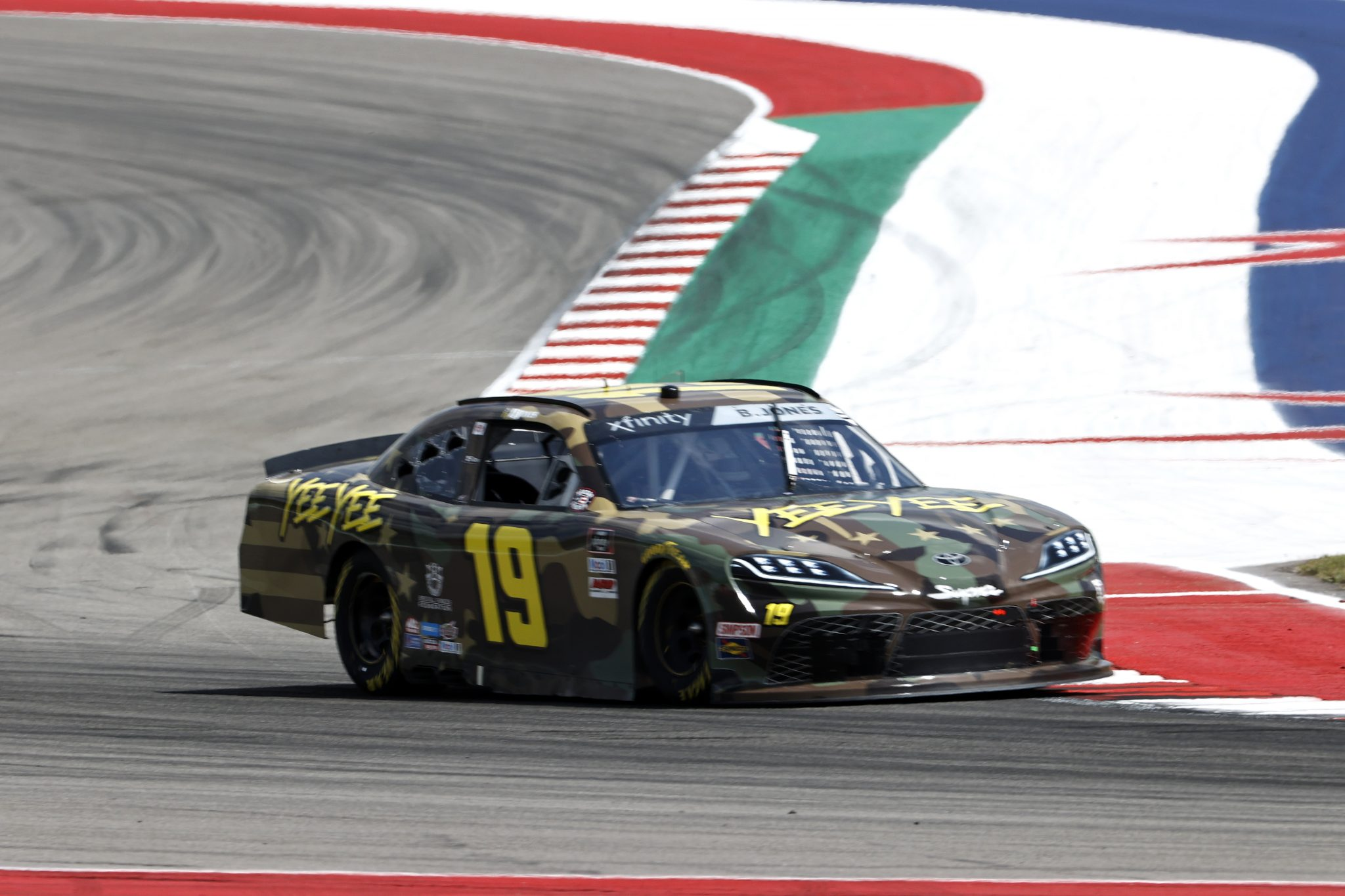 AUSTIN, TEXAS - MAY 21: Brandon Jones, driver of the #19 YeeYee Toyota, drives during practice for the NASCAR Xfinity Series Pit Boss 250 at Circuit of The Americas on May 21, 2021 in Austin, Texas. (Photo by Chris Graythen/Getty Images) | Getty Images