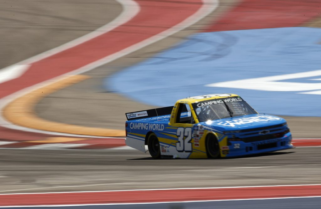 AUSTIN, TEXAS - MAY 21: Sam Mayer, driver of the #32 Camping World Chevrolet, drives during practice for the NASCAR Camping World Truck Series Toyota Tundra 225 at Circuit of The Americas on May 21, 2021 in Austin, Texas. (Photo by Jared C. Tilton/Getty Images) | Getty Images