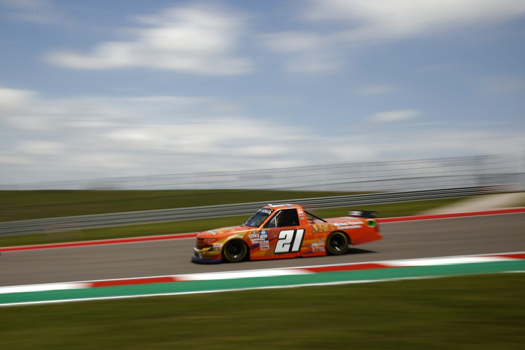 AUSTIN, TEXAS - MAY 21: Zane Smith, driver of the #21 MRC Construction Chevrolet, drives during practice for the NASCAR Camping World Truck Series Toyota Tundra 225 at Circuit of The Americas on May 21, 2021 in Austin, Texas. (Photo by Jared C. Tilton/Getty Images)   Getty Images
