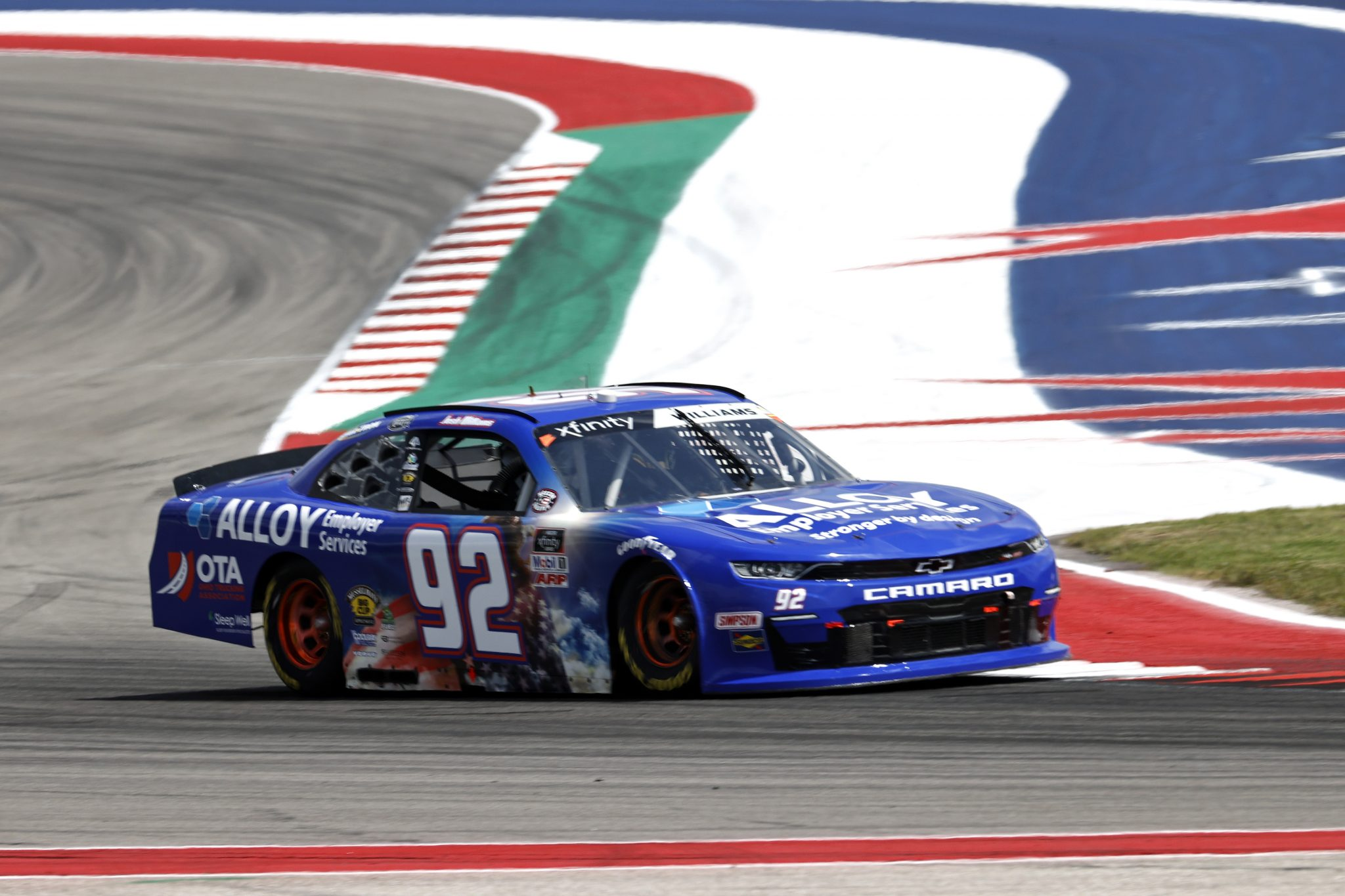 AUSTIN, TEXAS - MAY 21: Josh Williams, driver of the #92 Alloy Employer Services Chevrolet, drives during practice for the NASCAR Xfinity Series Pit Boss 250 at Circuit of The Americas on May 21, 2021 in Austin, Texas. (Photo by Chris Graythen/Getty Images) | Getty Images