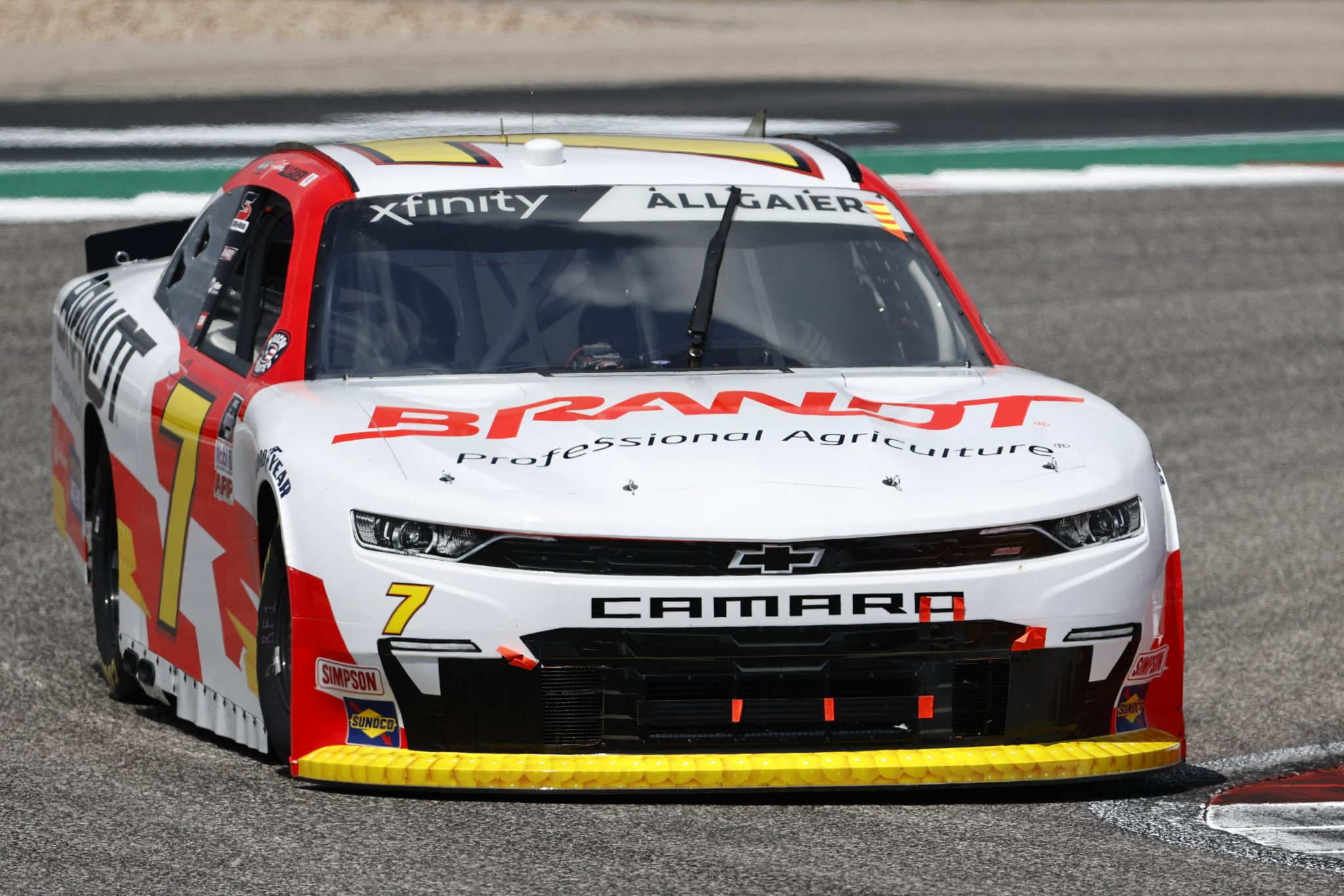 AUSTIN, TEXAS - MAY 21: Justin Allgaier, driver of the #7 BRANDT Chevrolet, drives during practice for the NASCAR Xfinity Series Pit Boss 250 at Circuit of The Americas on May 21, 2021 in Austin, Texas. (Photo by Chris Graythen/Getty Images) | Getty Images