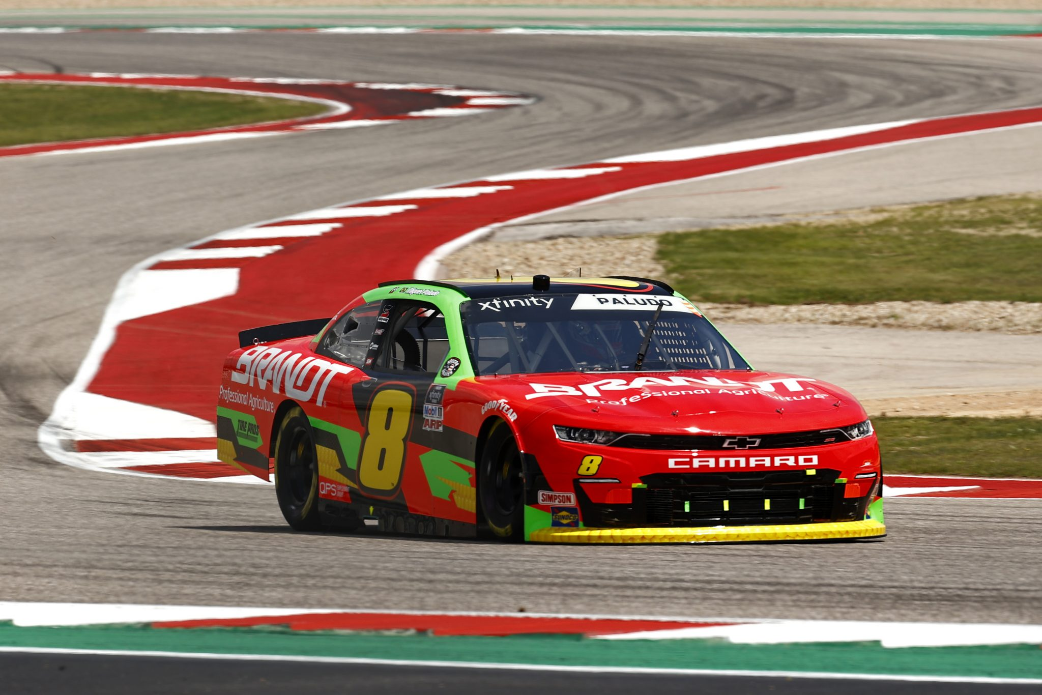 AUSTIN, TEXAS - MAY 21: Miguel Paludo, driver of the #8 BRANDT Chevrolet, drives during practice for the NASCAR Xfinity Series Pit Boss 250 at Circuit of The Americas on May 21, 2021 in Austin, Texas. (Photo by Jared C. Tilton/Getty Images) | Getty Images
