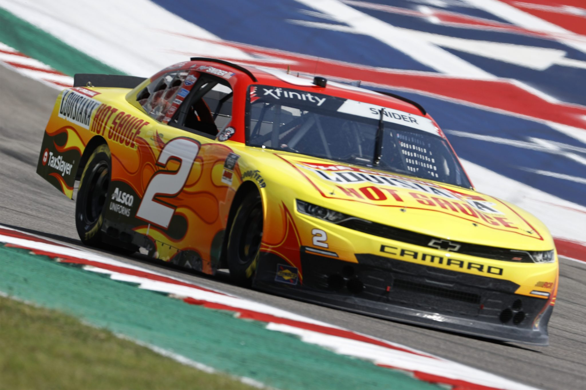 AUSTIN, TEXAS - MAY 21: Myatt Snider, driver of the #2 Louisiana Hot Sauce Chevrolet, drives during practice for the NASCAR Xfinity Series Pit Boss 250 at Circuit of The Americas on May 21, 2021 in Austin, Texas. (Photo by Chris Graythen/Getty Images) | Getty Images