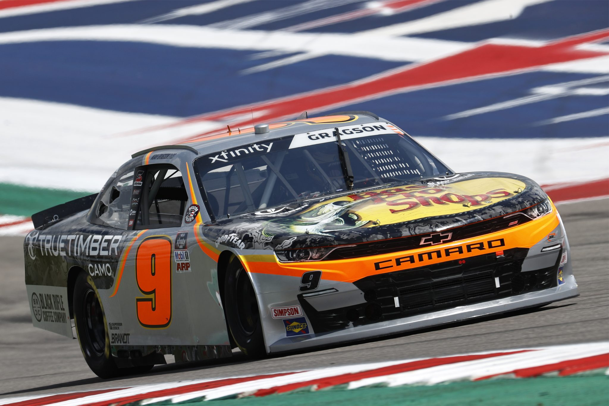 AUSTIN, TEXAS - MAY 21: Noah Gragson, driver of the #9 Bass Pro Shops/TrueTimber/BRCC Chevrolet, drives during practice for the NASCAR Xfinity Series Pit Boss 250 at Circuit of The Americas on May 21, 2021 in Austin, Texas. (Photo by Chris Graythen/Getty Images) | Getty Images