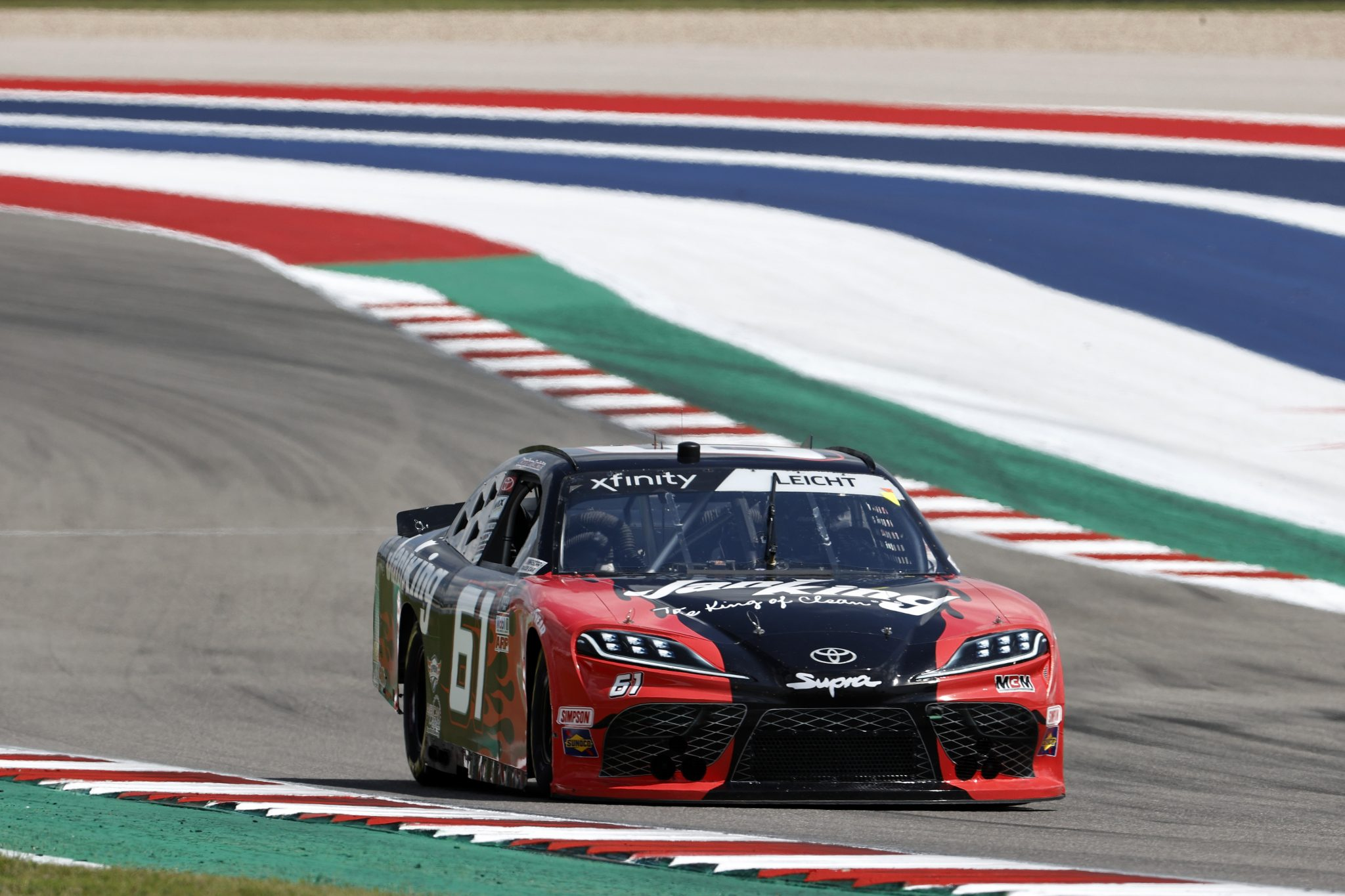 AUSTIN, TEXAS - MAY 21: Stephen Leicht, driver of the #61 Janiking Toyota, drives during practice for the NASCAR Xfinity Series Pit Boss 250 at Circuit of The Americas on May 21, 2021 in Austin, Texas. (Photo by Chris Graythen/Getty Images) | Getty Images