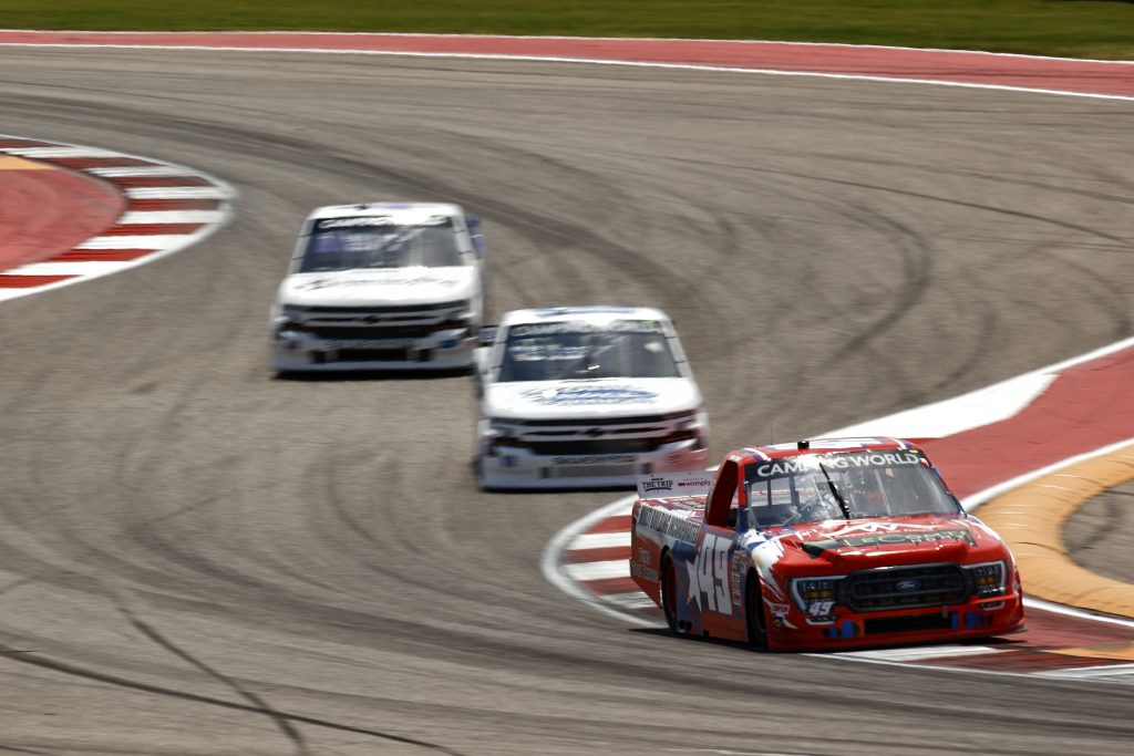 AUSTIN, TEXAS - MAY 21: John Atwell, driver of the #49 Multi Building Incorporated Ford, leads the field during practice for the NASCAR Camping World Truck Series Toyota Tundra 225 at Circuit of The Americas on May 21, 2021 in Austin, Texas. (Photo by Jared C. Tilton/Getty Images) | Getty Images