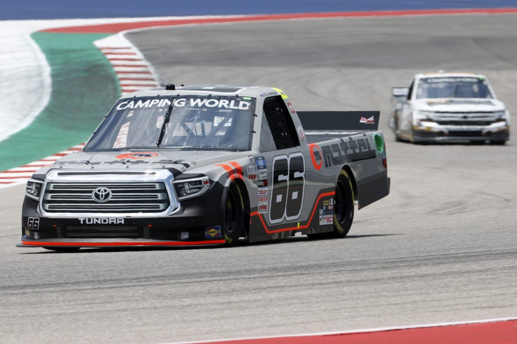 AUSTIN, TEXAS - MAY 21: Paul Menard, driver of the #66 Mattei Air Compressors Toyota, drives during practice for the NASCAR Camping World Truck Series Toyota Tundra 225 on May 21, 2021 in Austin, Texas. (Photo by Chris Graythen/Getty Images) | Getty Images