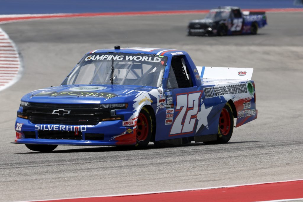 AUSTIN, TEXAS - MAY 21: Samuel Lecomte, driver of the #72 Multi Building Incorporated Chevrolet, drives during practice for the NASCAR Camping World Truck Series Toyota Tundra 225 on May 21, 2021 in Austin, Texas. (Photo by Chris Graythen/Getty Images) | Getty Images