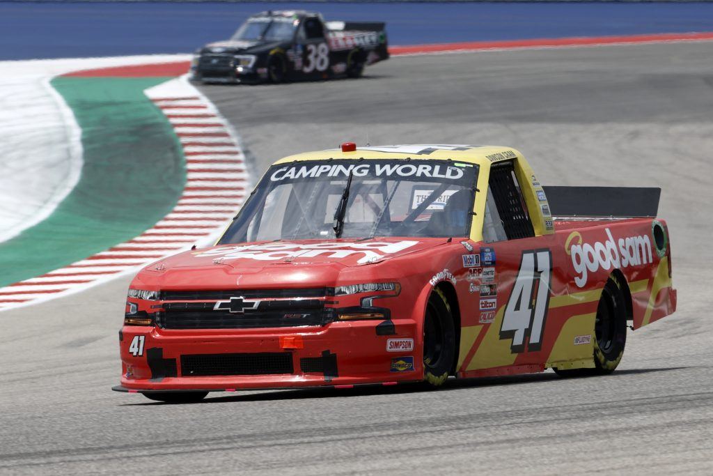 AUSTIN, TEXAS - MAY 21: Dawson Cram, driver of the #41 Good Sam Chevrolet, drives during practice for the NASCAR Camping World Truck Series Toyota Tundra 225 on May 21, 2021 in Austin, Texas. (Photo by Chris Graythen/Getty Images) | Getty Images