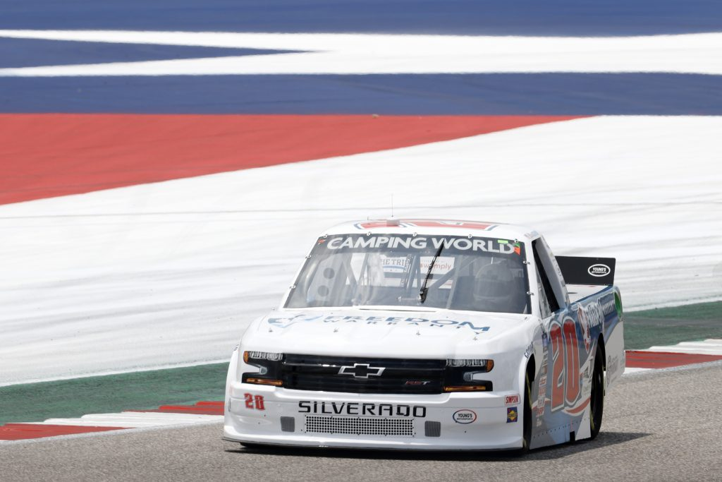 AUSTIN, TEXAS - MAY 21: Spencer Boyd, driver of the #20 Freedom Warranty Chevrolet, drives during practice for the NASCAR Camping World Truck Series Toyota Tundra 225 on May 21, 2021 in Austin, Texas. (Photo by Chris Graythen/Getty Images) | Getty Images