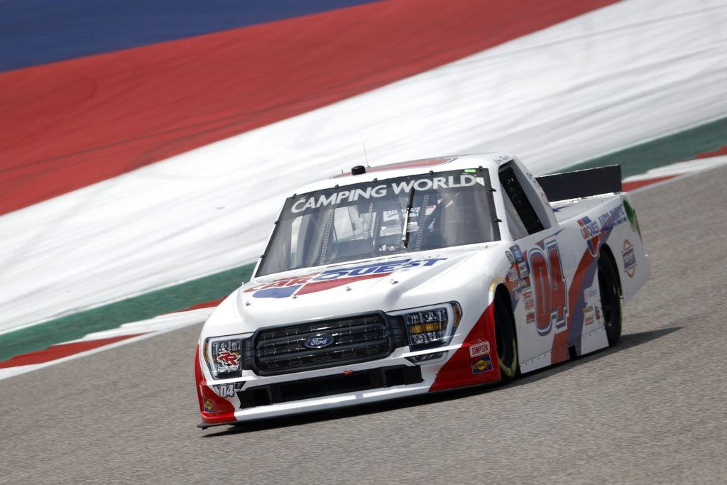 AUSTIN, TEXAS - MAY 21: Cory Roper, driver of the #04 CarQuest Auto Parts Ford, drives during practice for the NASCAR Camping World Truck Series Toyota Tundra 225 on May 21, 2021 in Austin, Texas. (Photo by Chris Graythen/Getty Images) | Getty Images