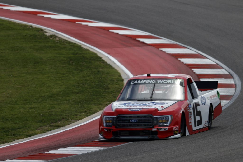 AUSTIN, TEXAS - MAY 21: Tanner Gray, driver of the #15 Ford Performance Ford, drives during practice for the NASCAR Camping World Truck Series Toyota Tundra 225 at Circuit of The Americas on May 21, 2021 in Austin, Texas. (Photo by Chris Graythen/Getty Images) | Getty Images